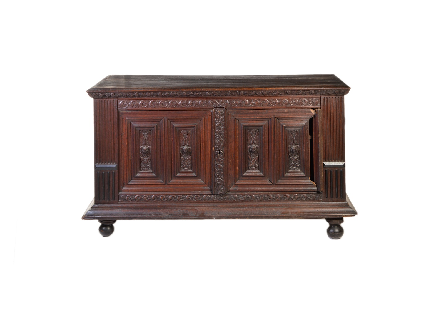 Large English Oak Chest, 18th Century and Adapted