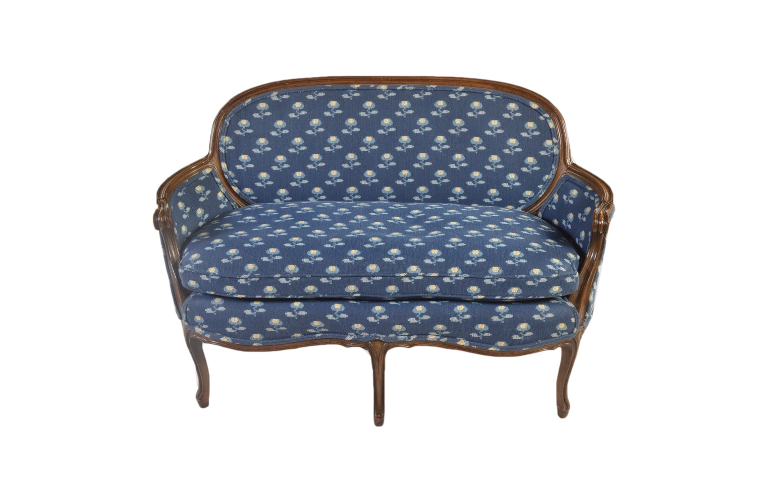 Vintage French Provincial Style Upholstered Settee