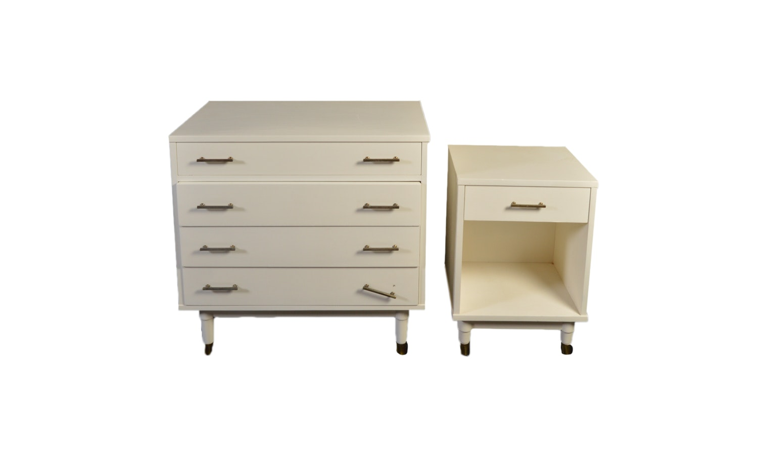 White Painted Mid Century Modern Chest of Drawers and Nightstand