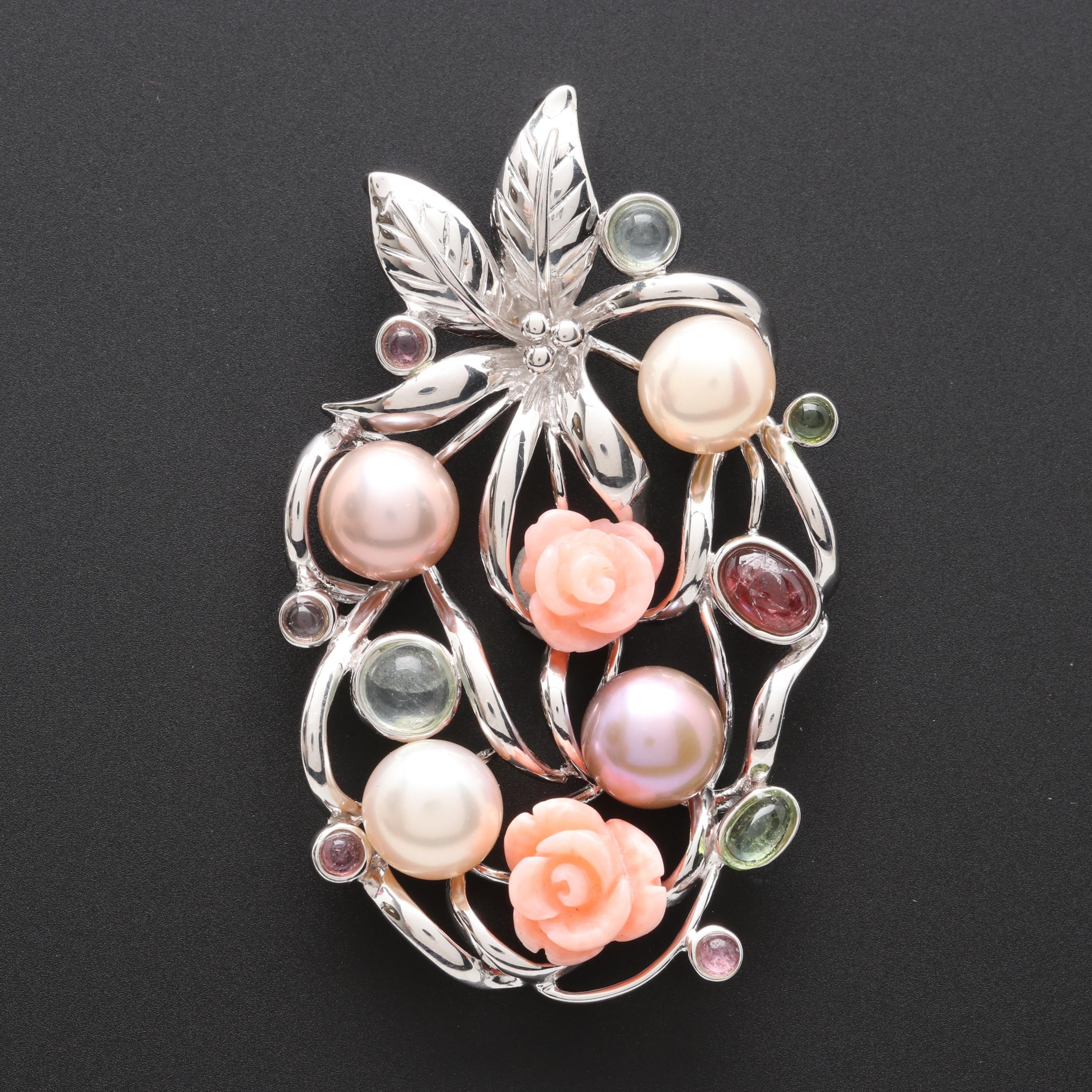 Sterling Silver Cultured Pearl, Coral and Pink Tourmaline Pendant