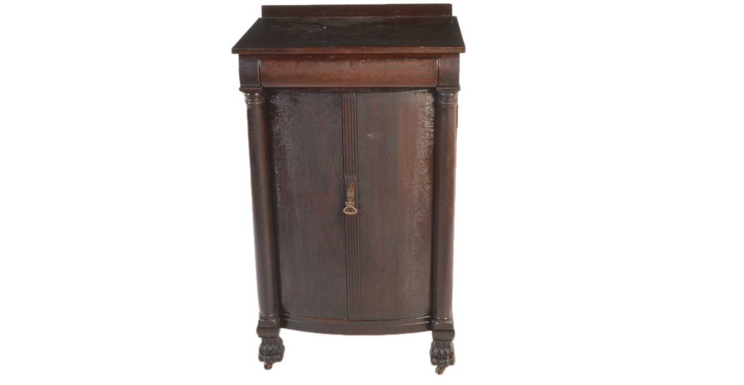 Antique Empire Mahogany Bar Cabinet