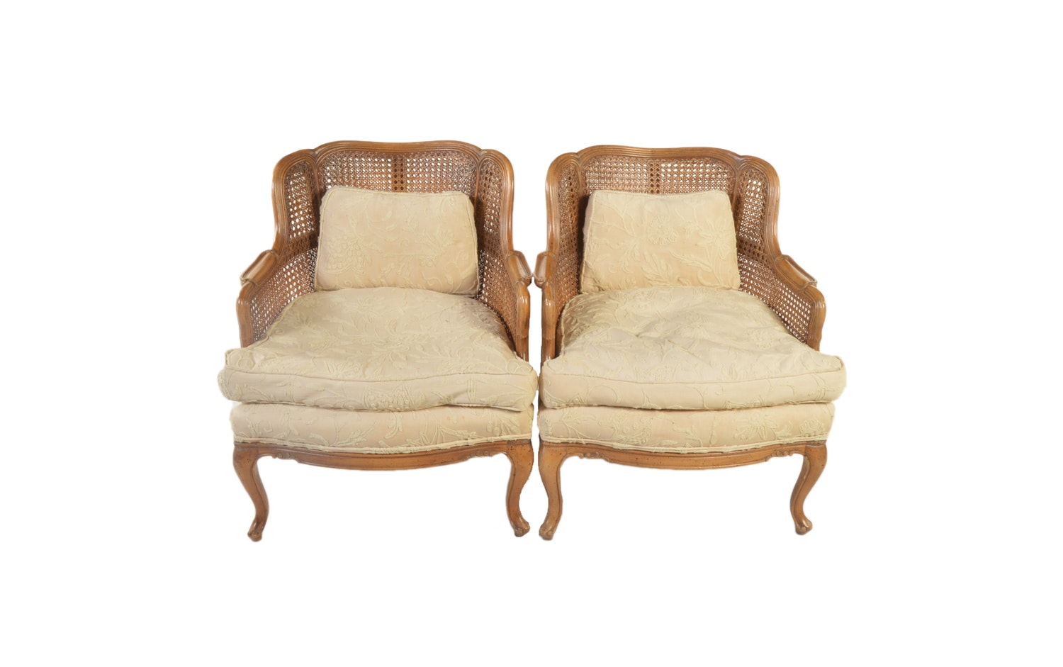 Vintage French Provincial Style Cane Back Armchairs