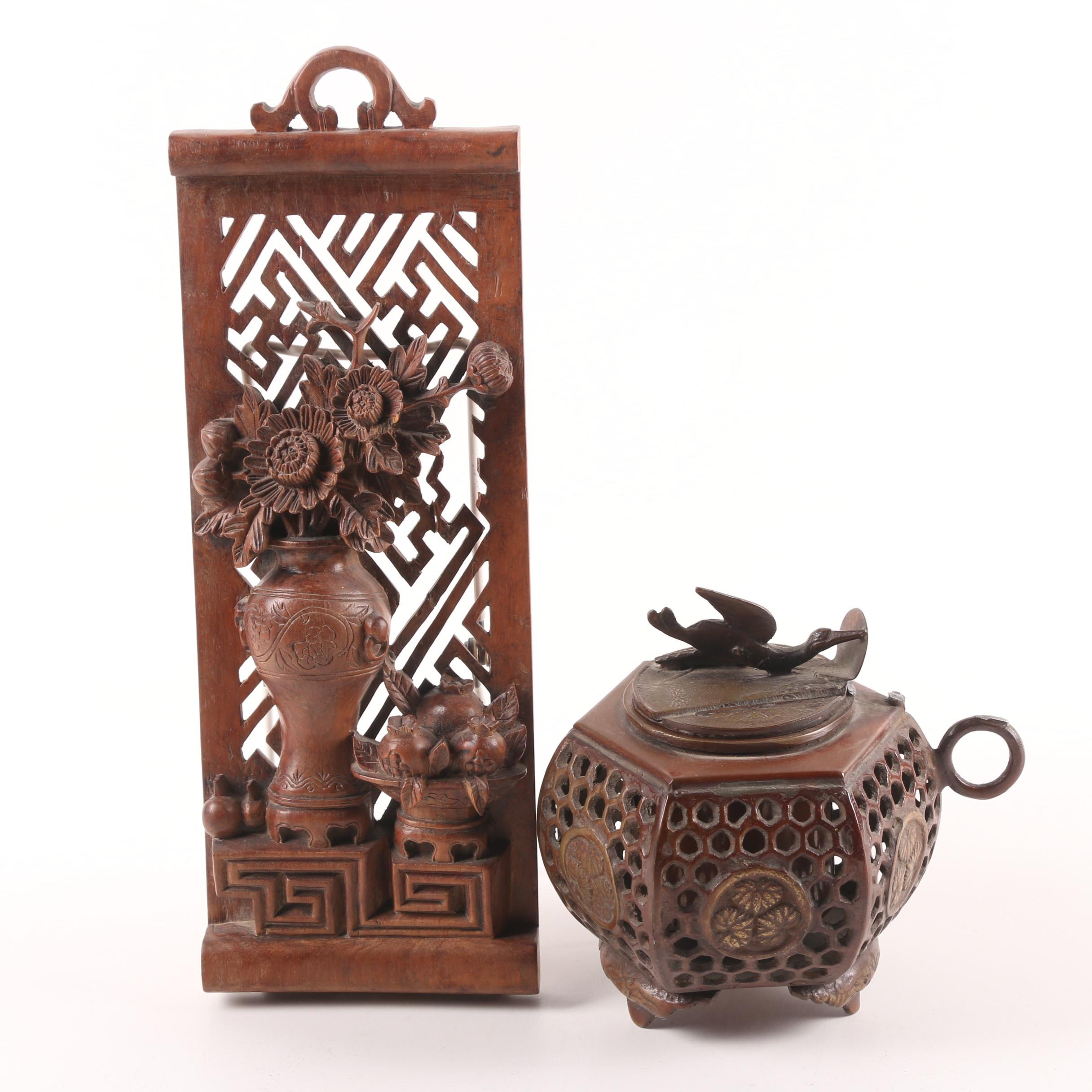 Chinese Carved Wooden Floral and Fret Panel and Censer with Crane Motif