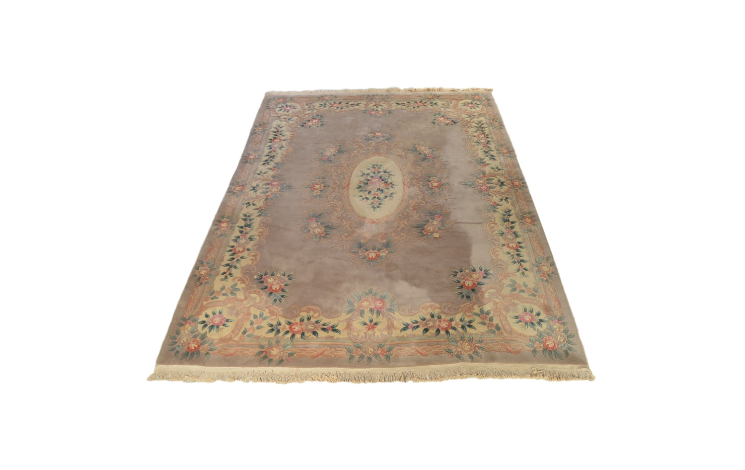Hand-Knotted Chinese Floral Carved Wool Room Sized Rug