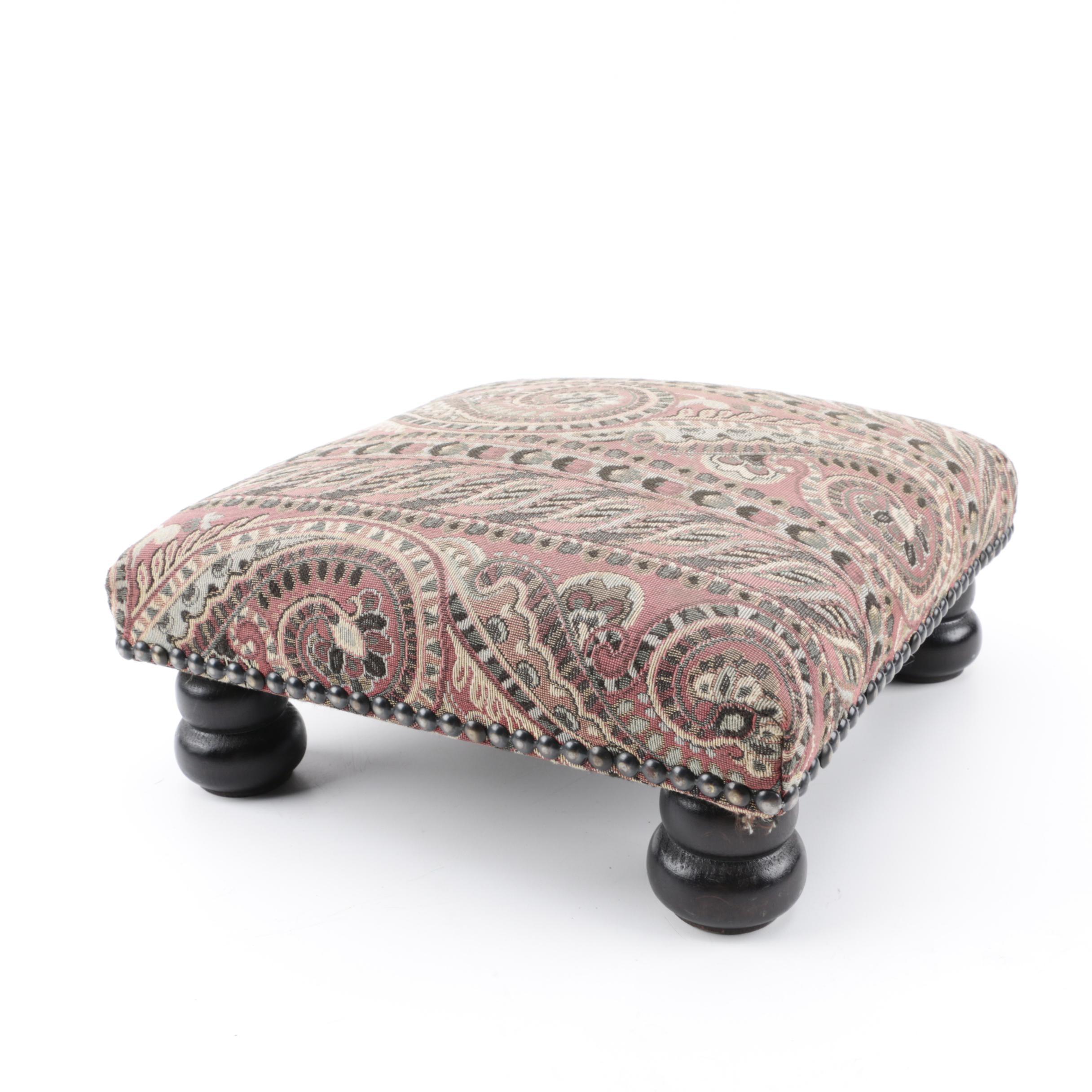 Vintage English Upholstered Footstool