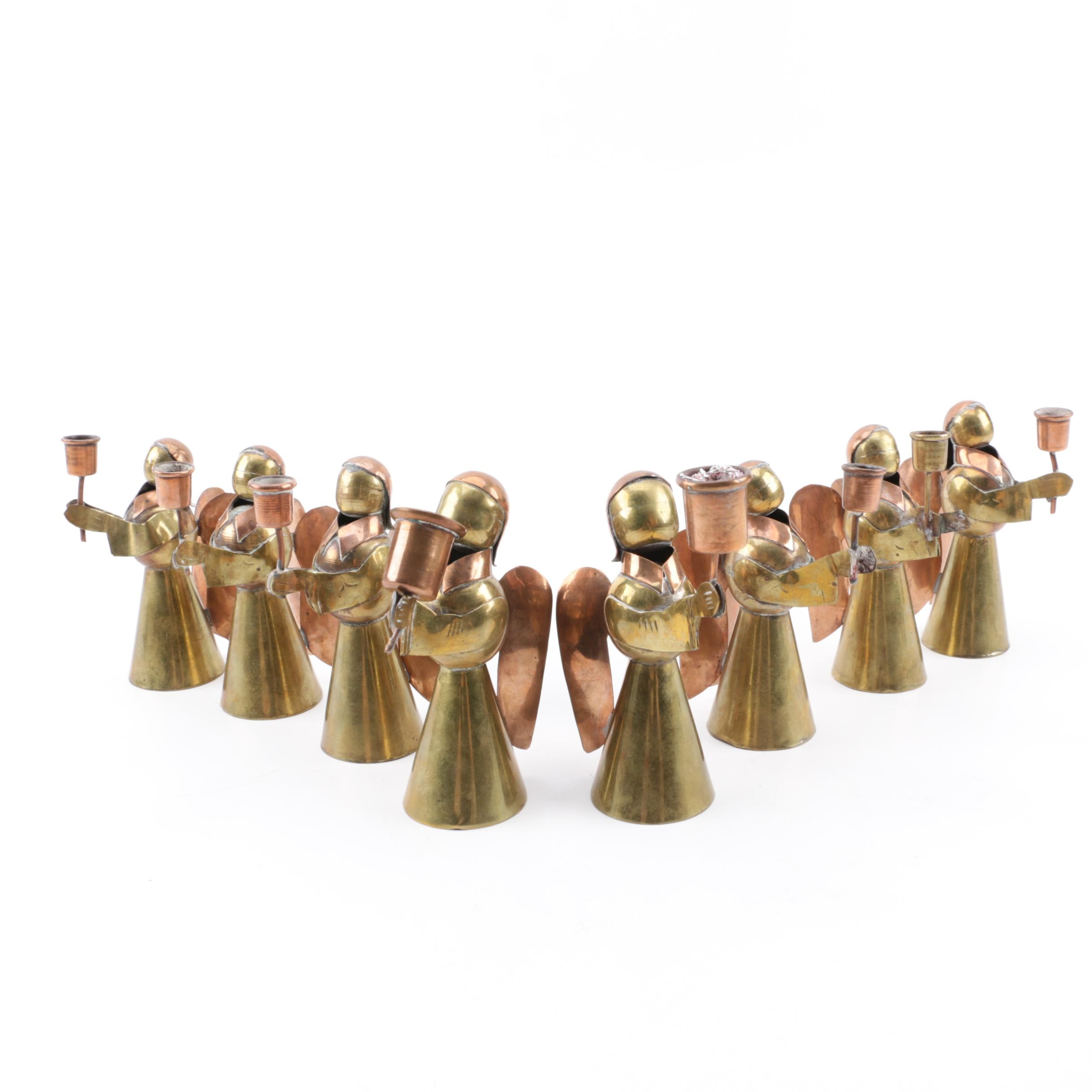 Vintage Mexican Brass and Copper Angel Candleholders