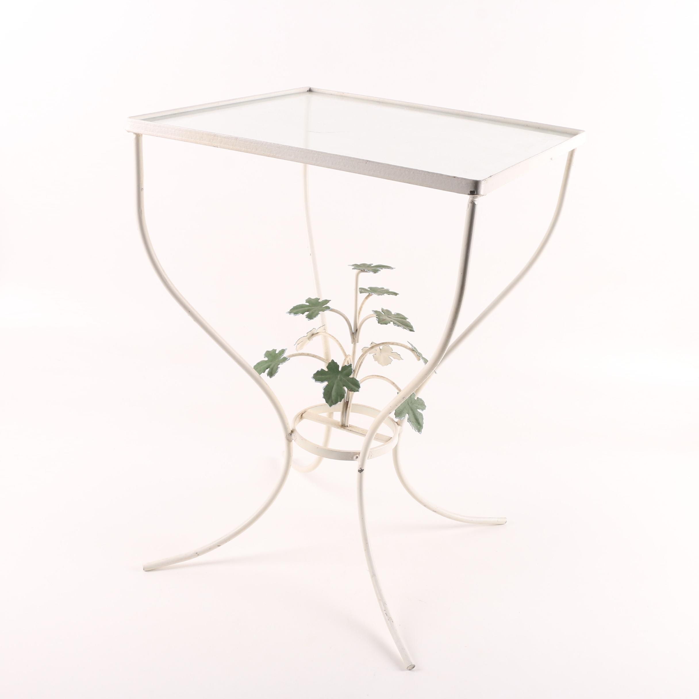 Vintage White Metal Patio Accent Table with Leaf Motif