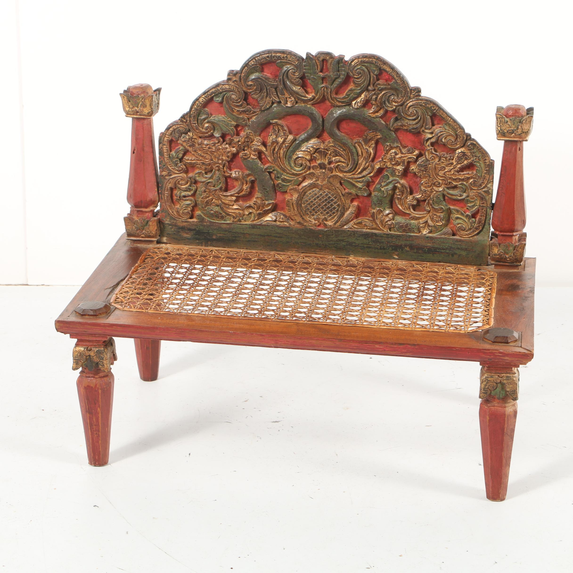 Vintage Indonesian Carved Wood Accent Bench