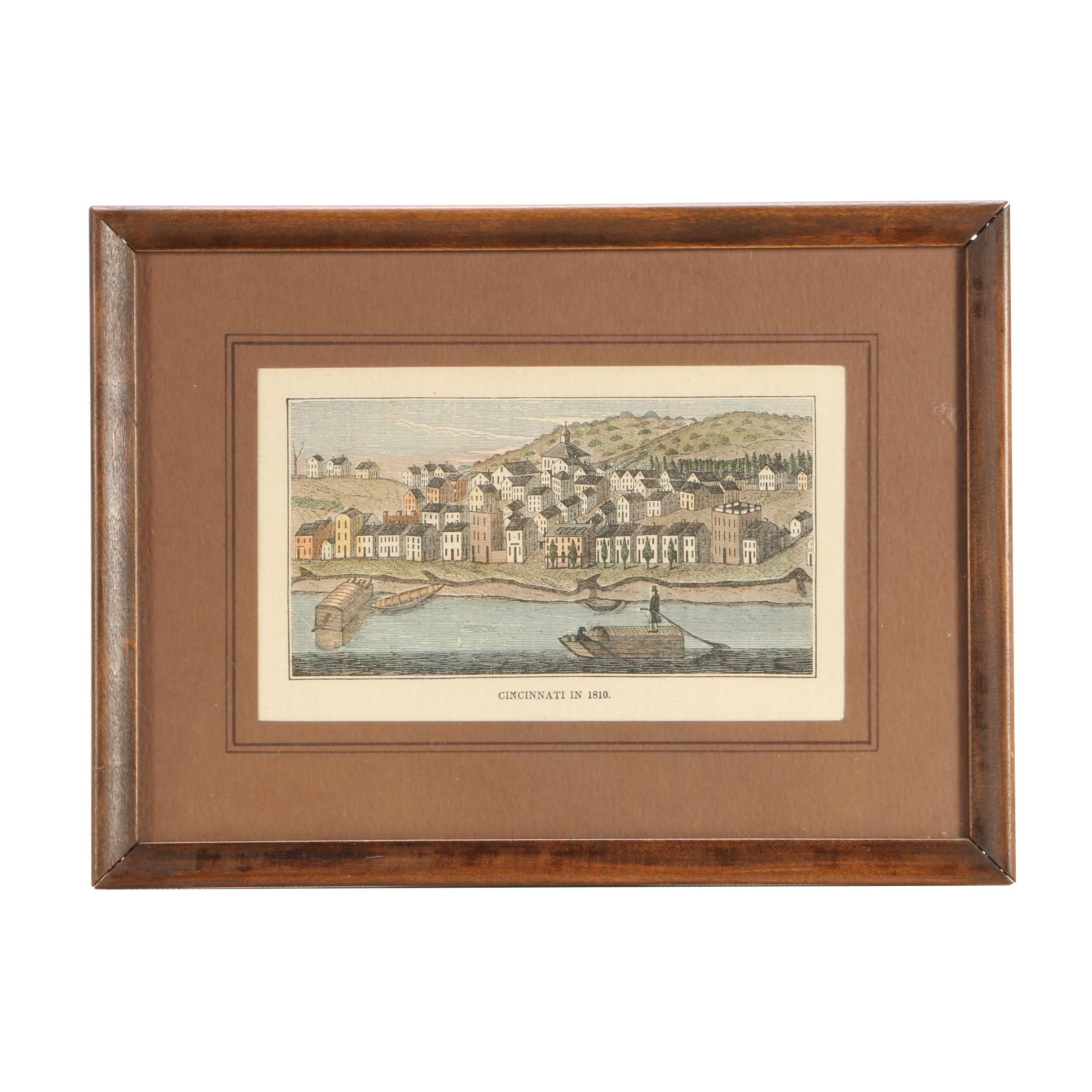 "Jervis Cutler Hand-Colored Wood Engraving Bookplate ""Cincinnati in 1810"""