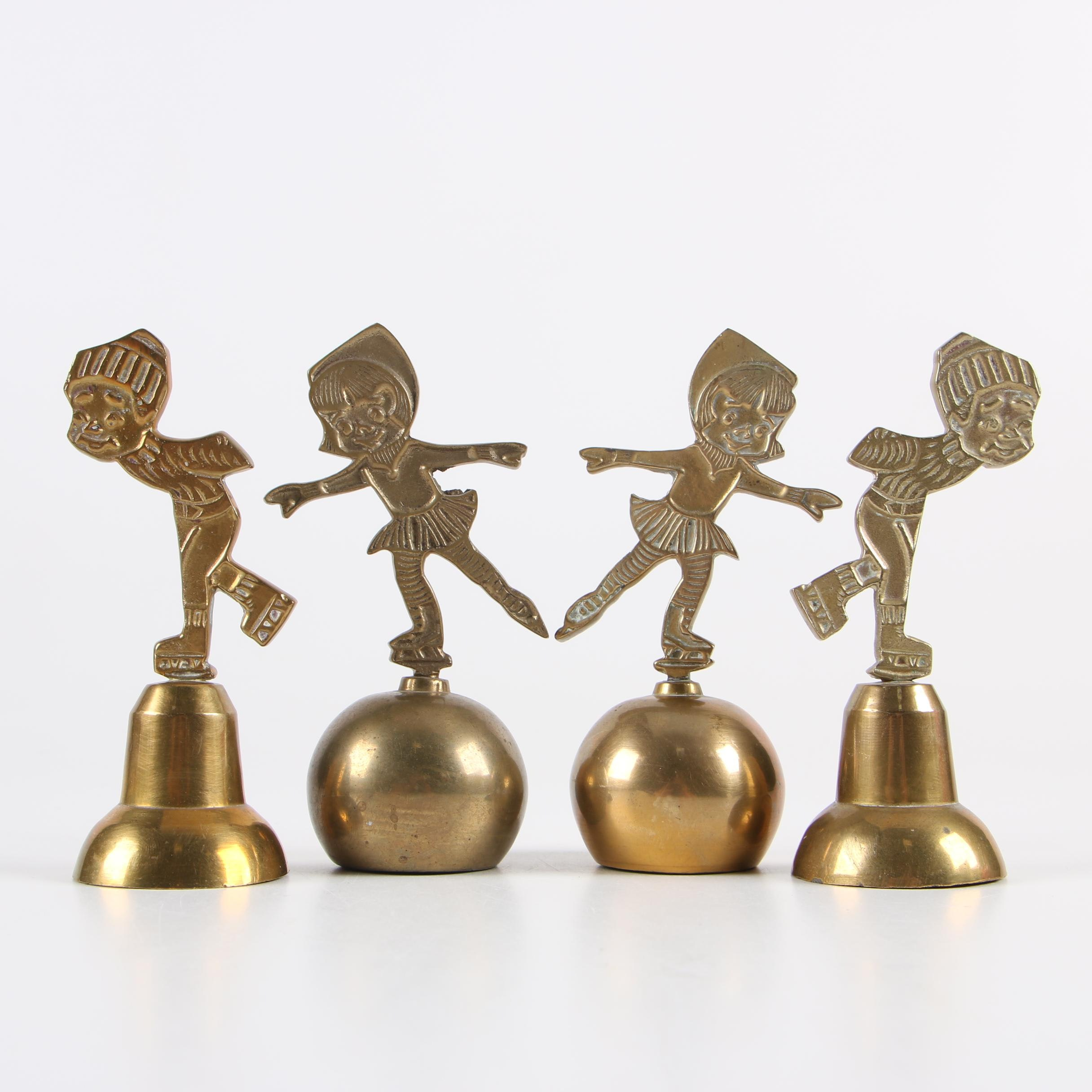 1970s Indian Brass Bells of Sarna with Ice Skating Motif