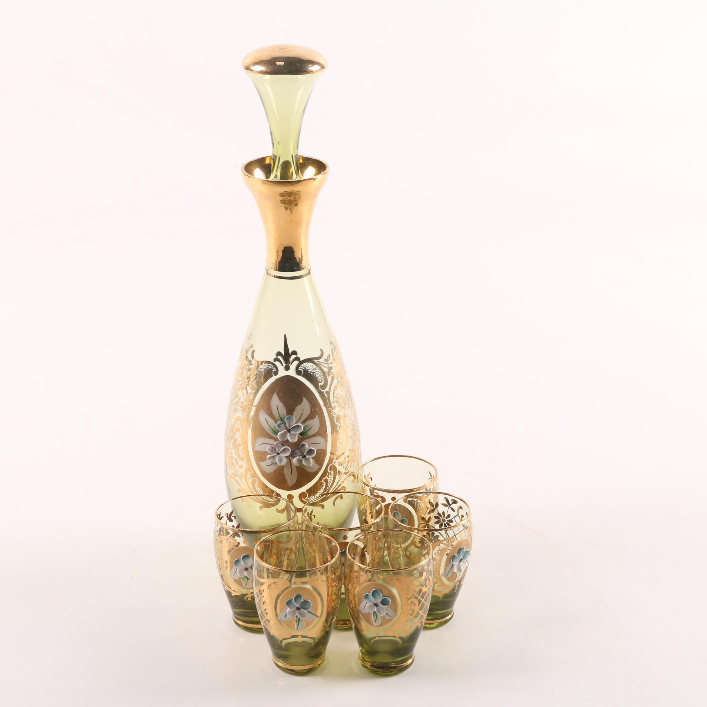 Bohemian Style Hand-Painted Glass Decanter Set