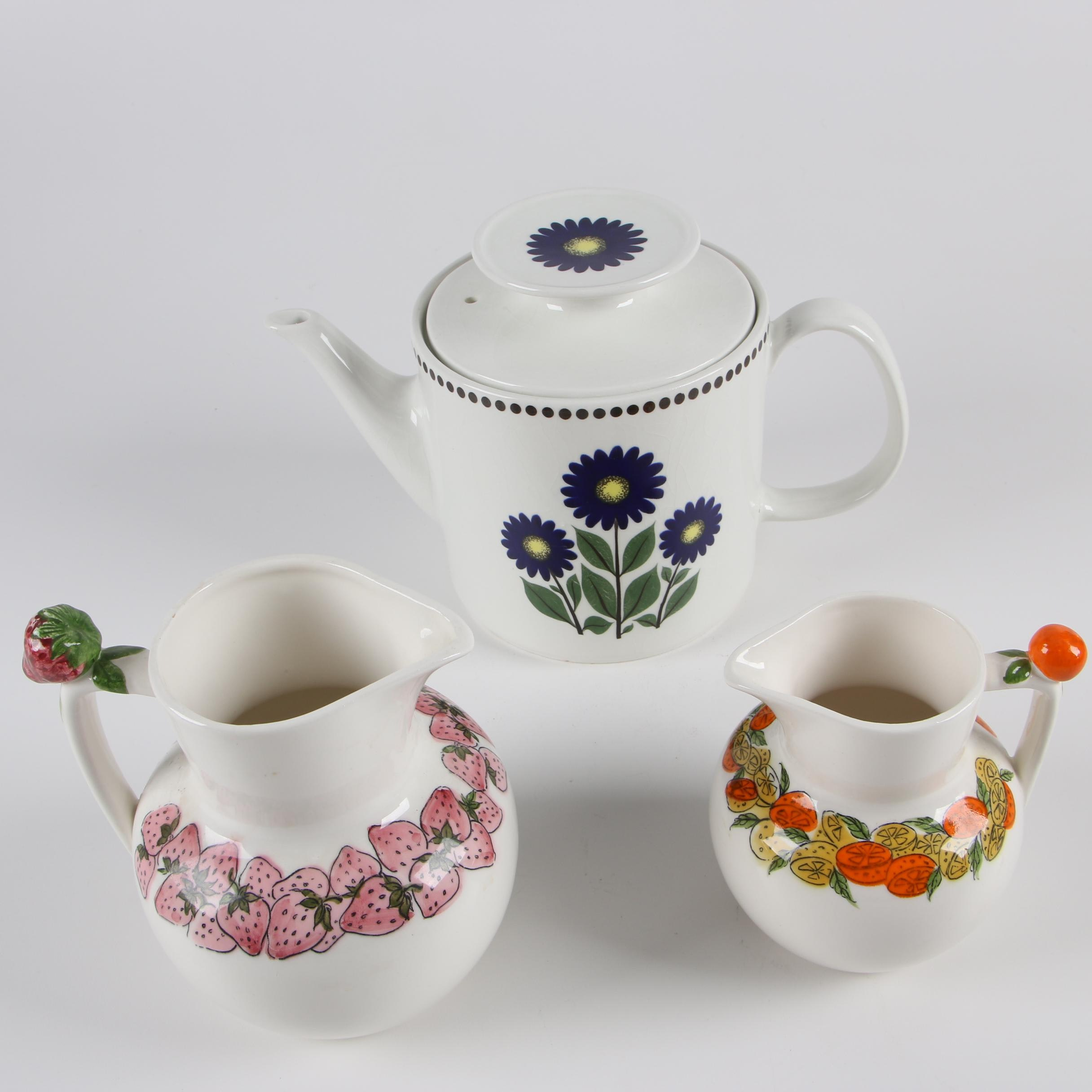 "Arklow ""Irish Spring"" Teapot with Fruit Motif Pitchers"