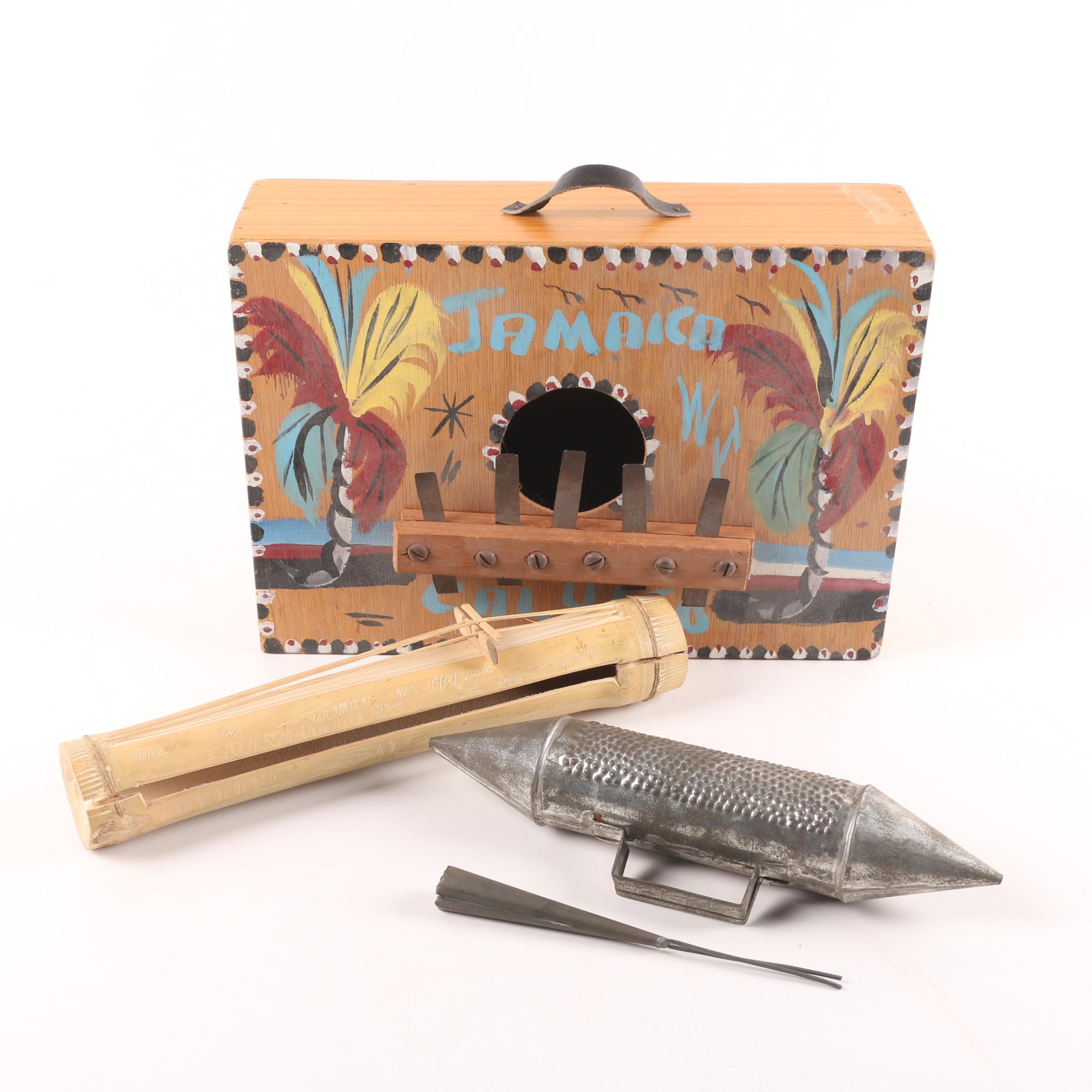 Hand Painted Jamaican Kalimba, Metal Guiro and Bamboo Stringed Instrument