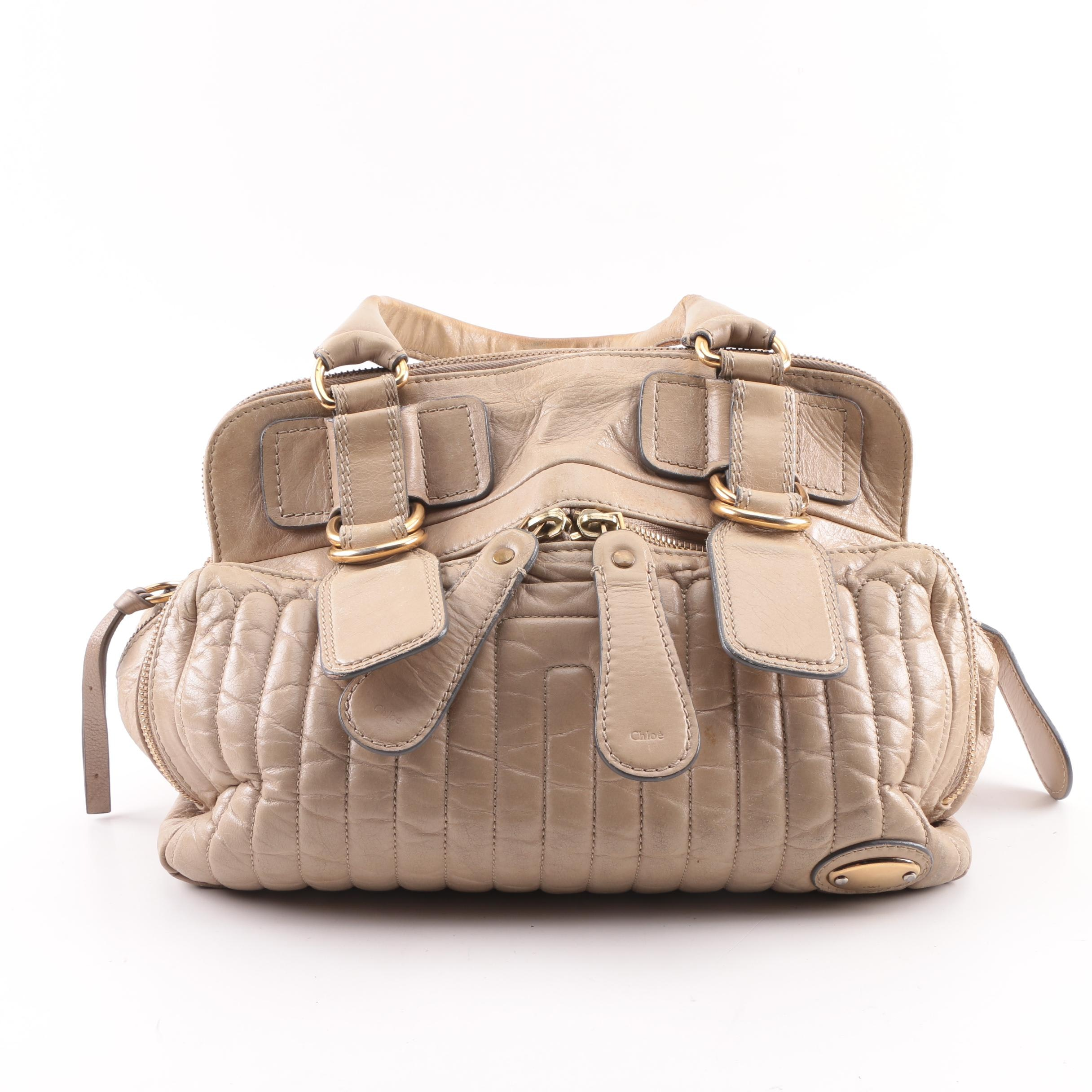 Chloé Bay Quilted Beige Leather Satchel