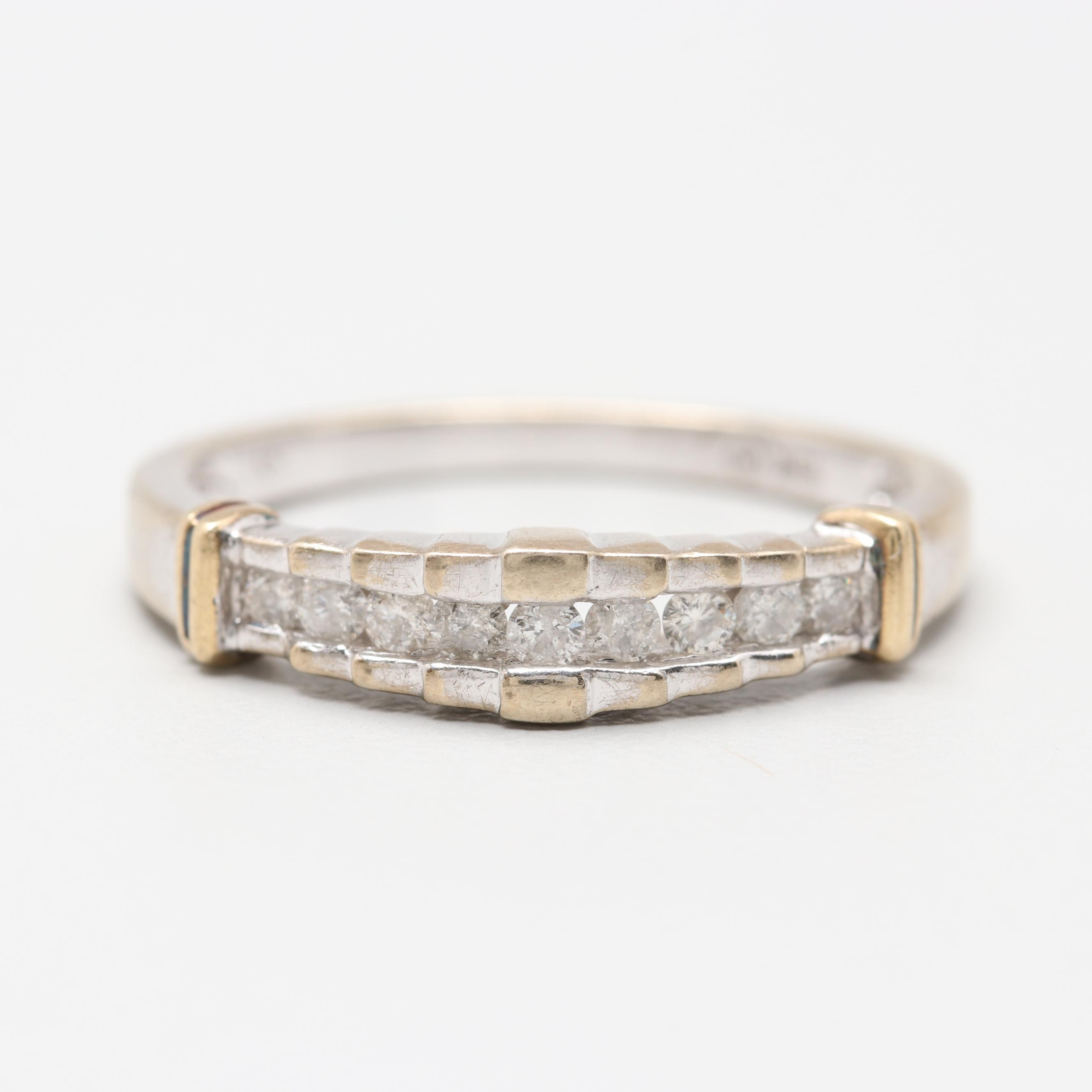 10K White Gold Diamond Ring with Yellow Gold Accents