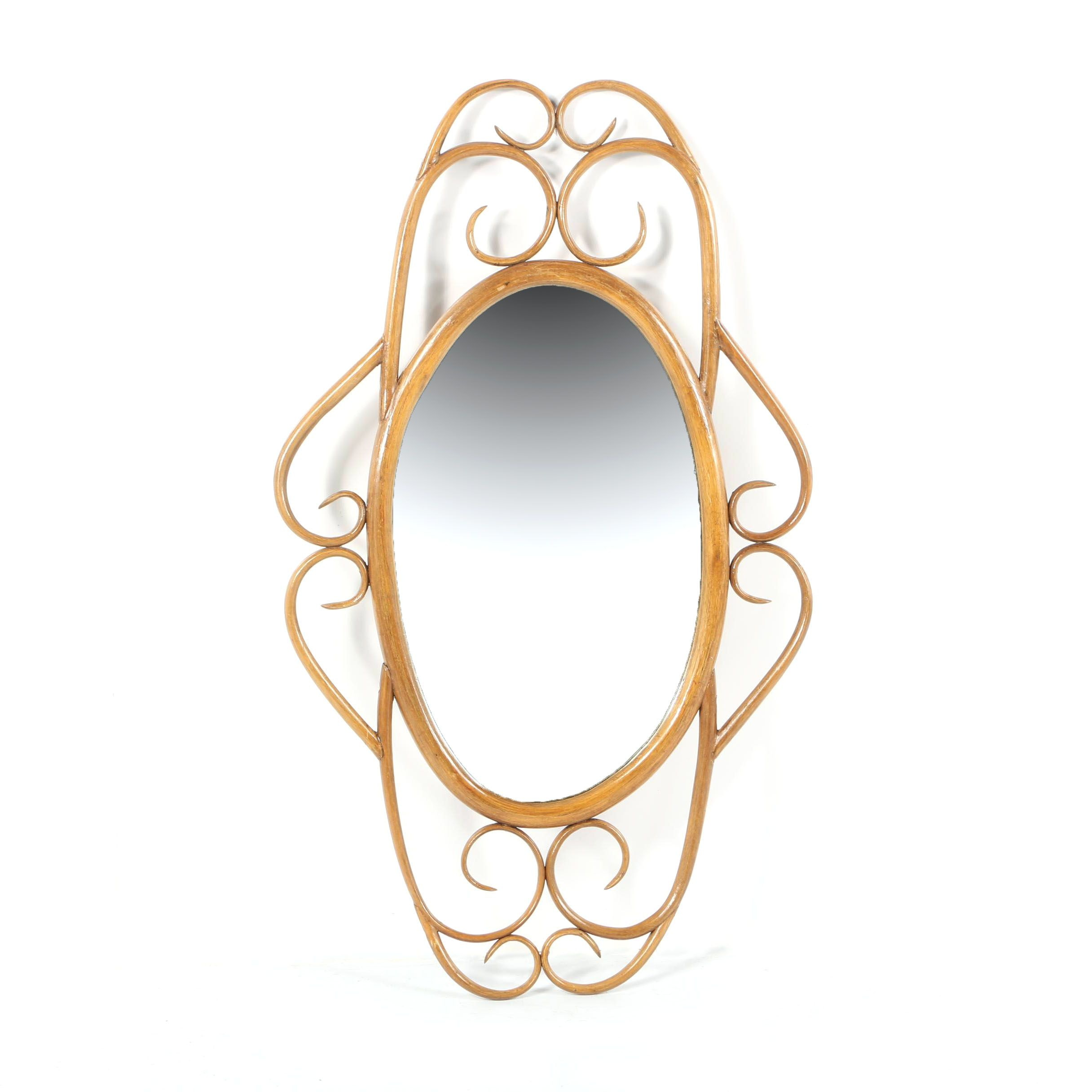 Vintage Scrolling Bentwood Framed Oval Wall Mirror