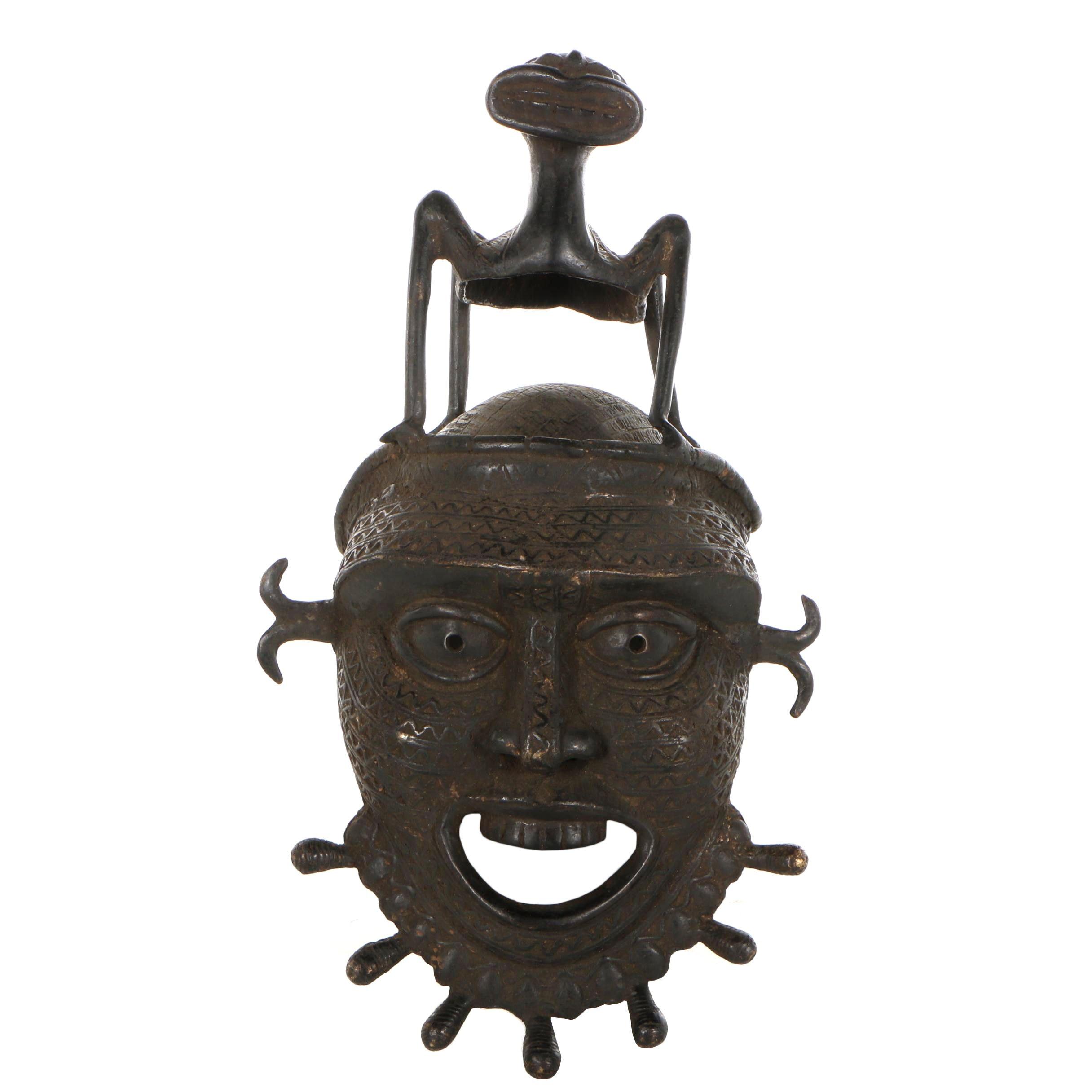20th Century Copper Alloy Tikar Mask