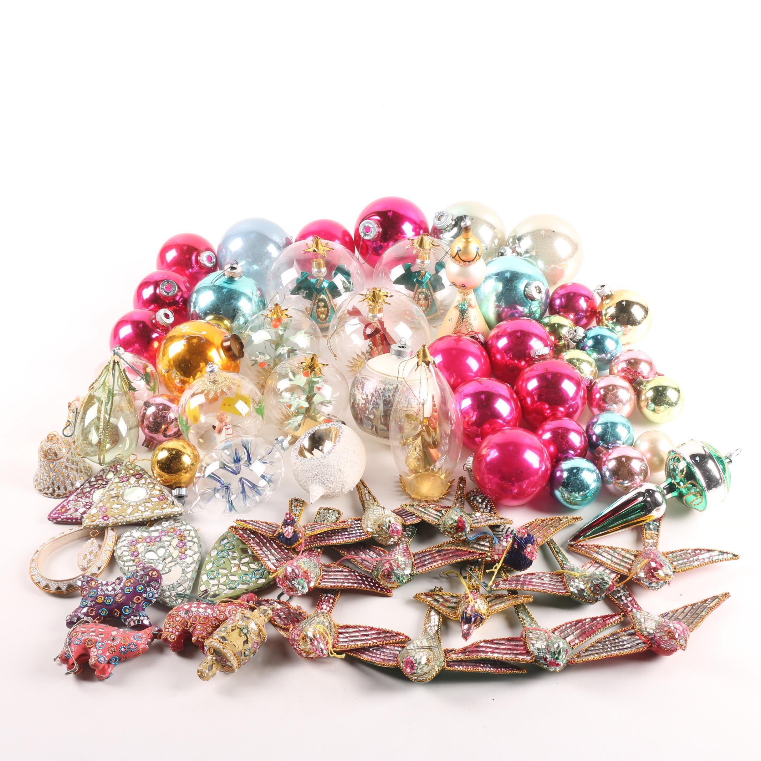 Vintage Mosaic Bird and Glass Ball Christmas Ornaments