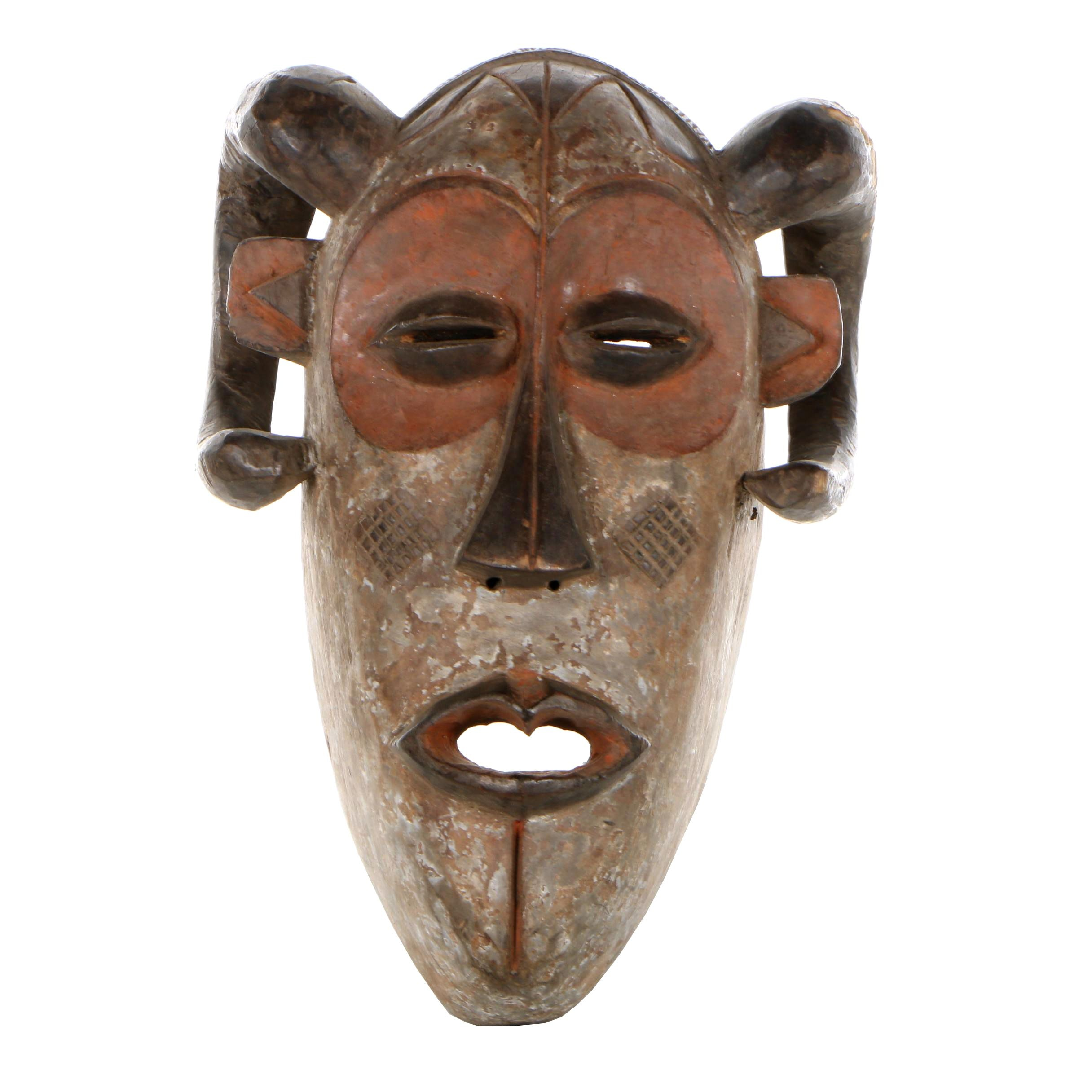 20th Century Wooden Polychrome Mask from the Congo Basin