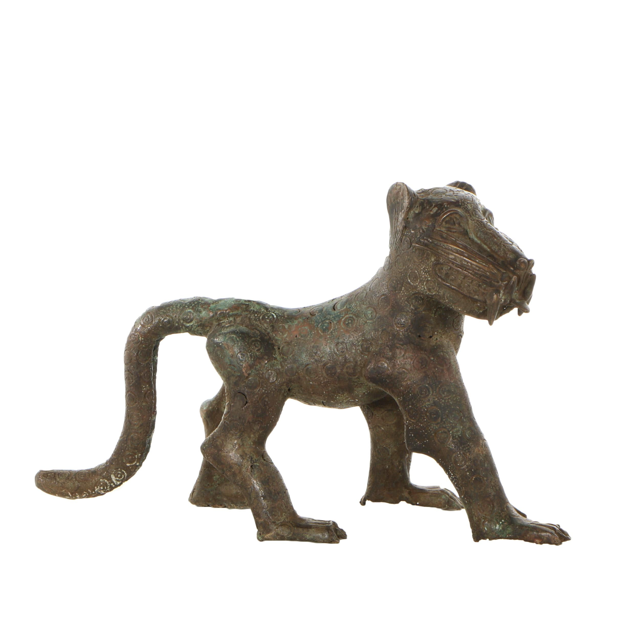 20th Century African Benin Copper Alloy Leopard Aquamanile