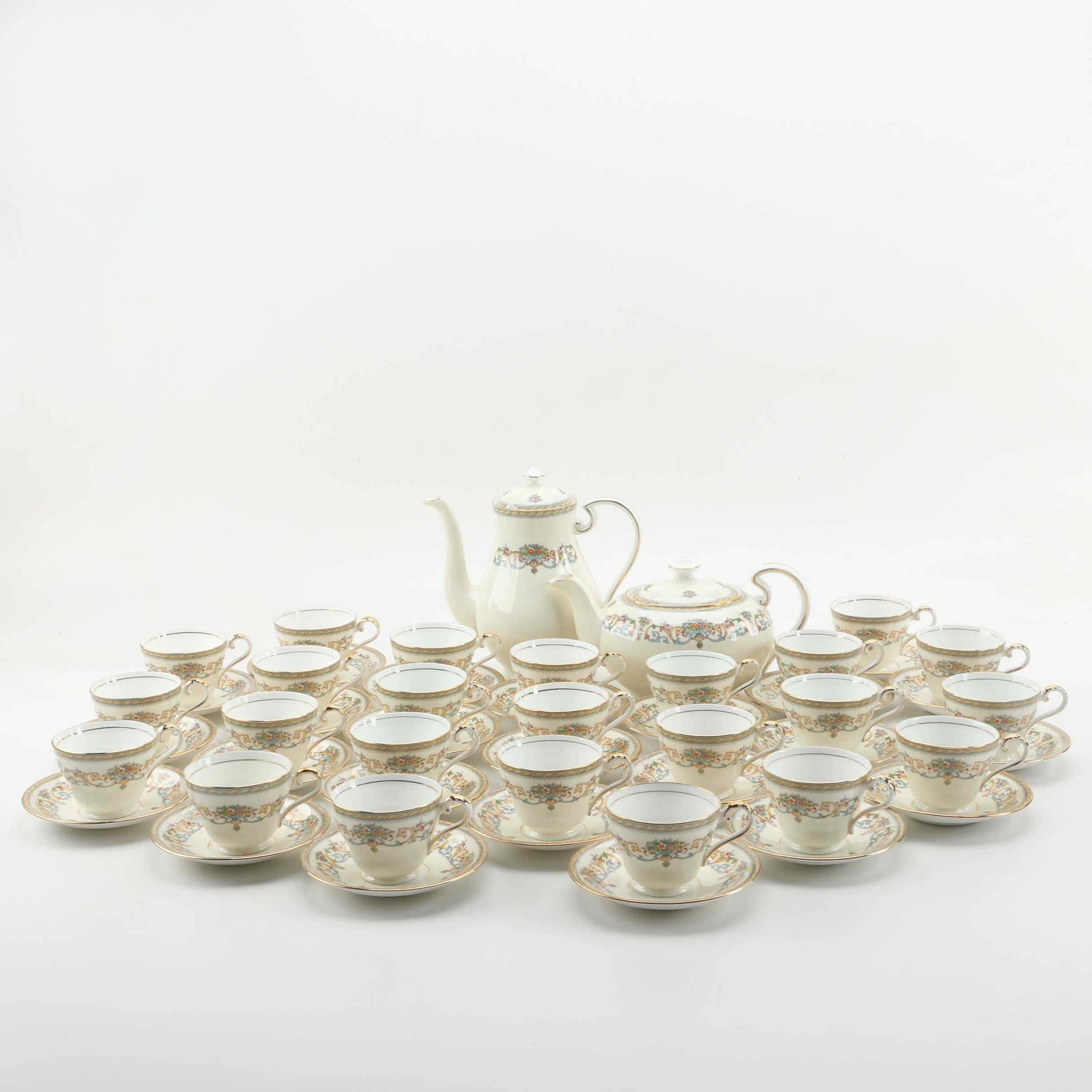 "John Aynsley ""Henley"" Bone China Tea and Coffee Service c. 1974-95"