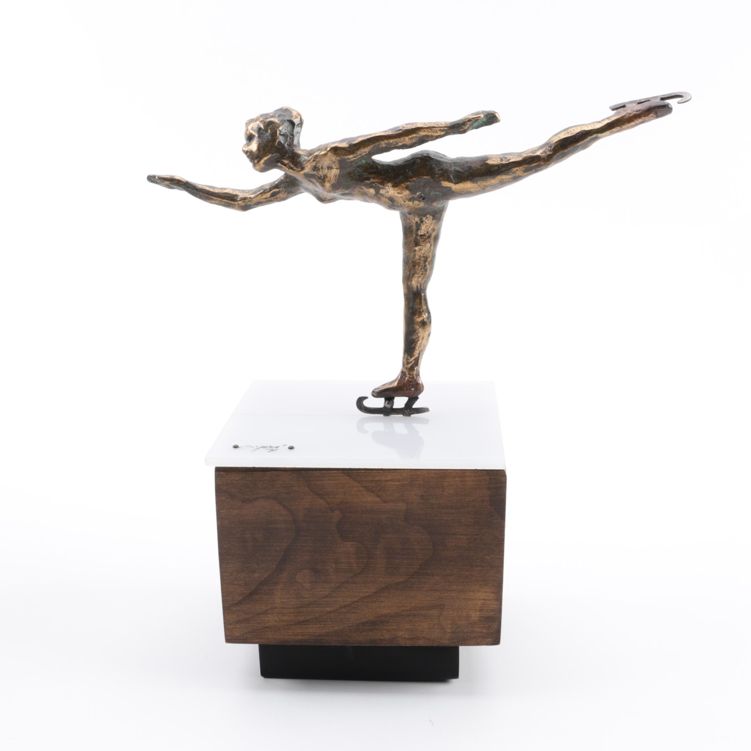 Curtis Jeré Bronze Sculpture of an Ice Skater