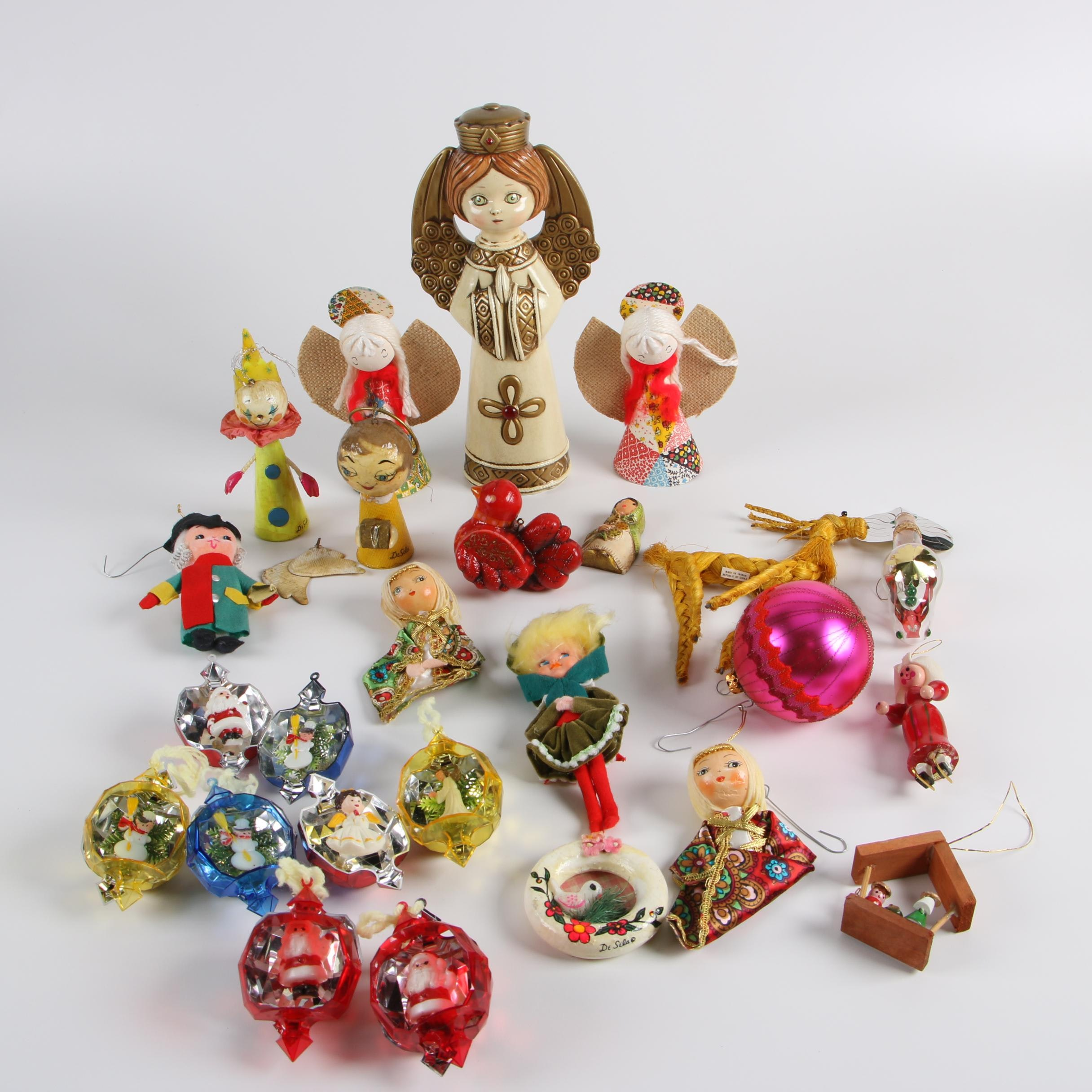 Vintage Figural and Glass Ball Christmas Ornaments