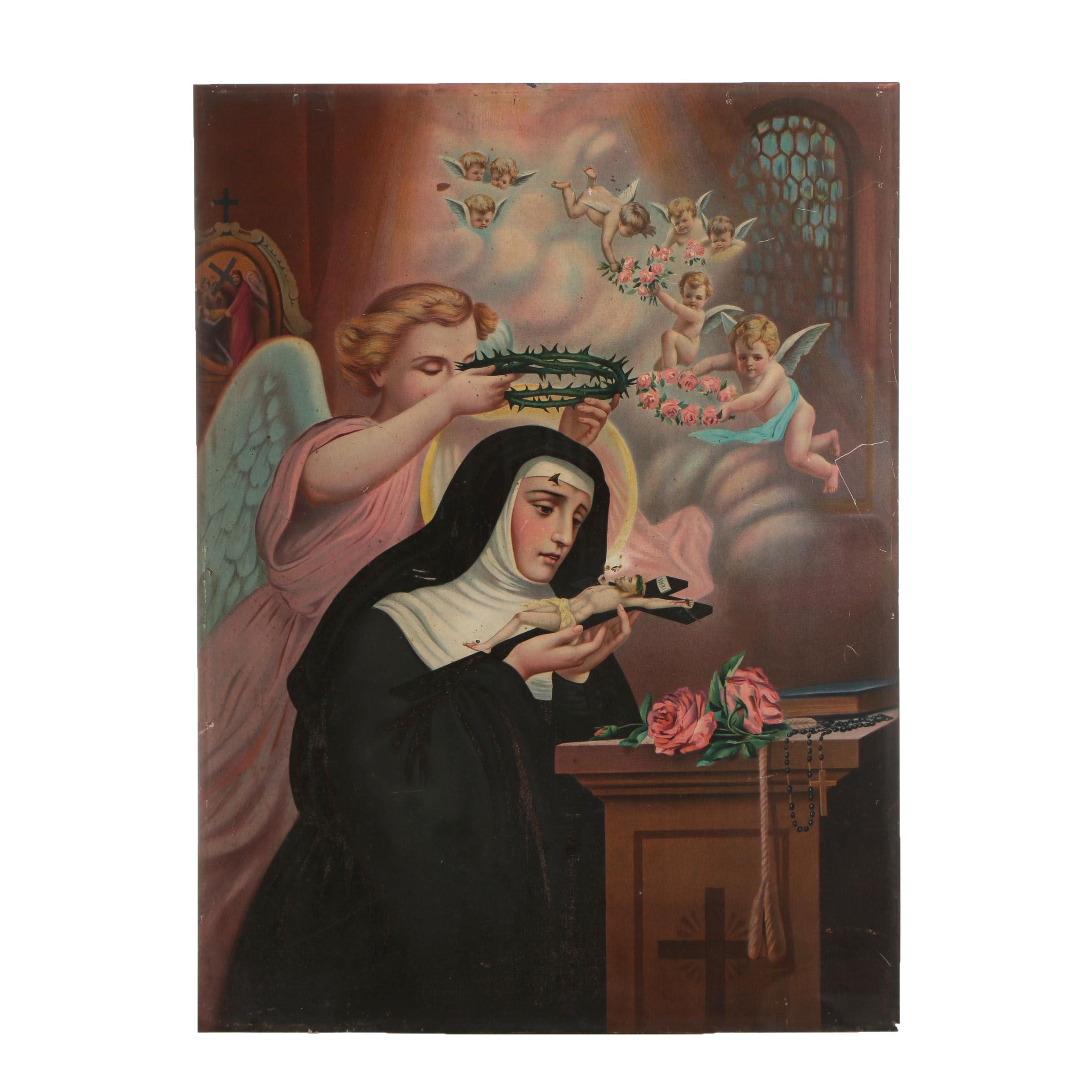 "John Duffy Chromolithograph ""St. Rita of Cascia"" in the manner of Carlo Del Tufo"