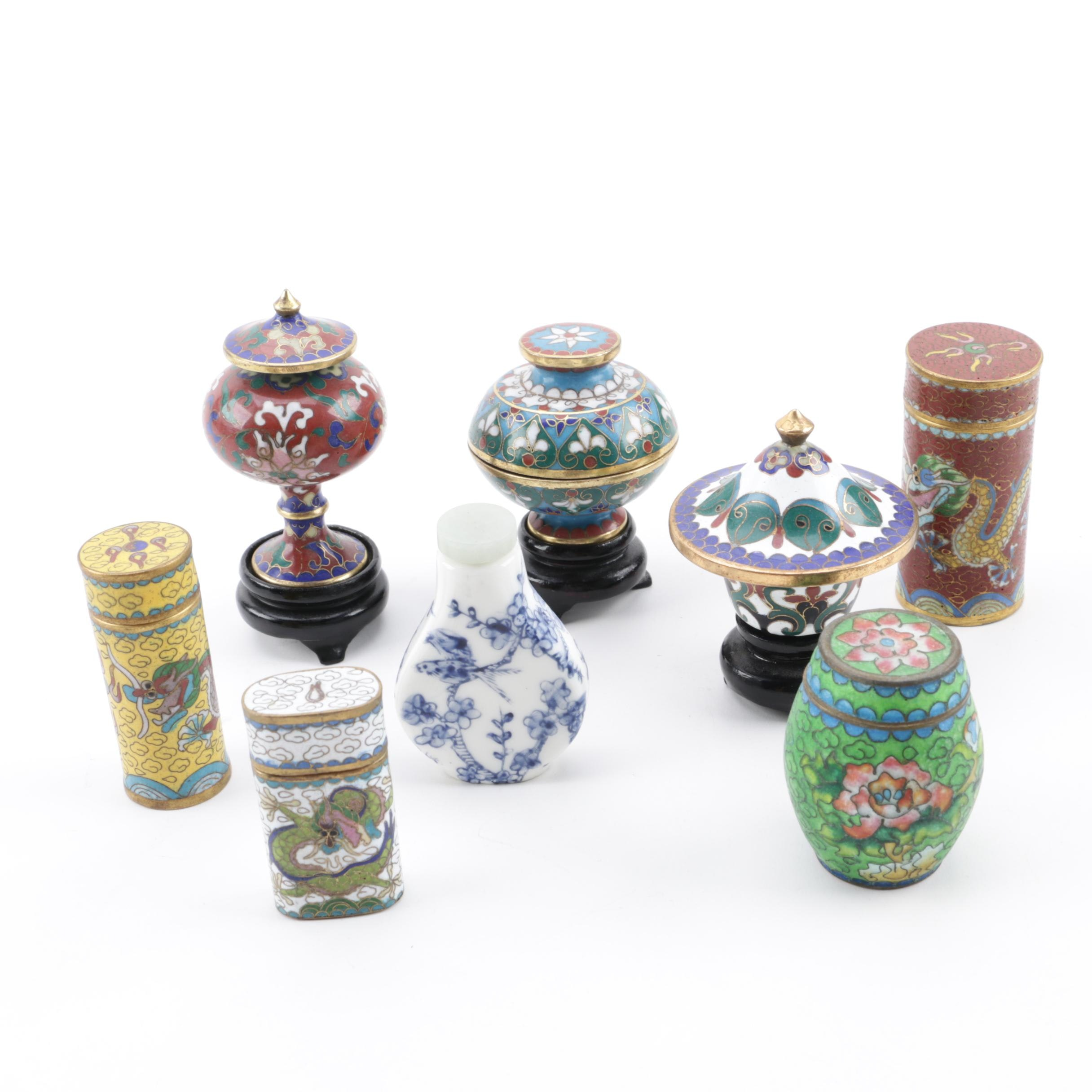 Chinese Miniature Cloisonné Boxes and Jars with Ceramic Snuff Bottle