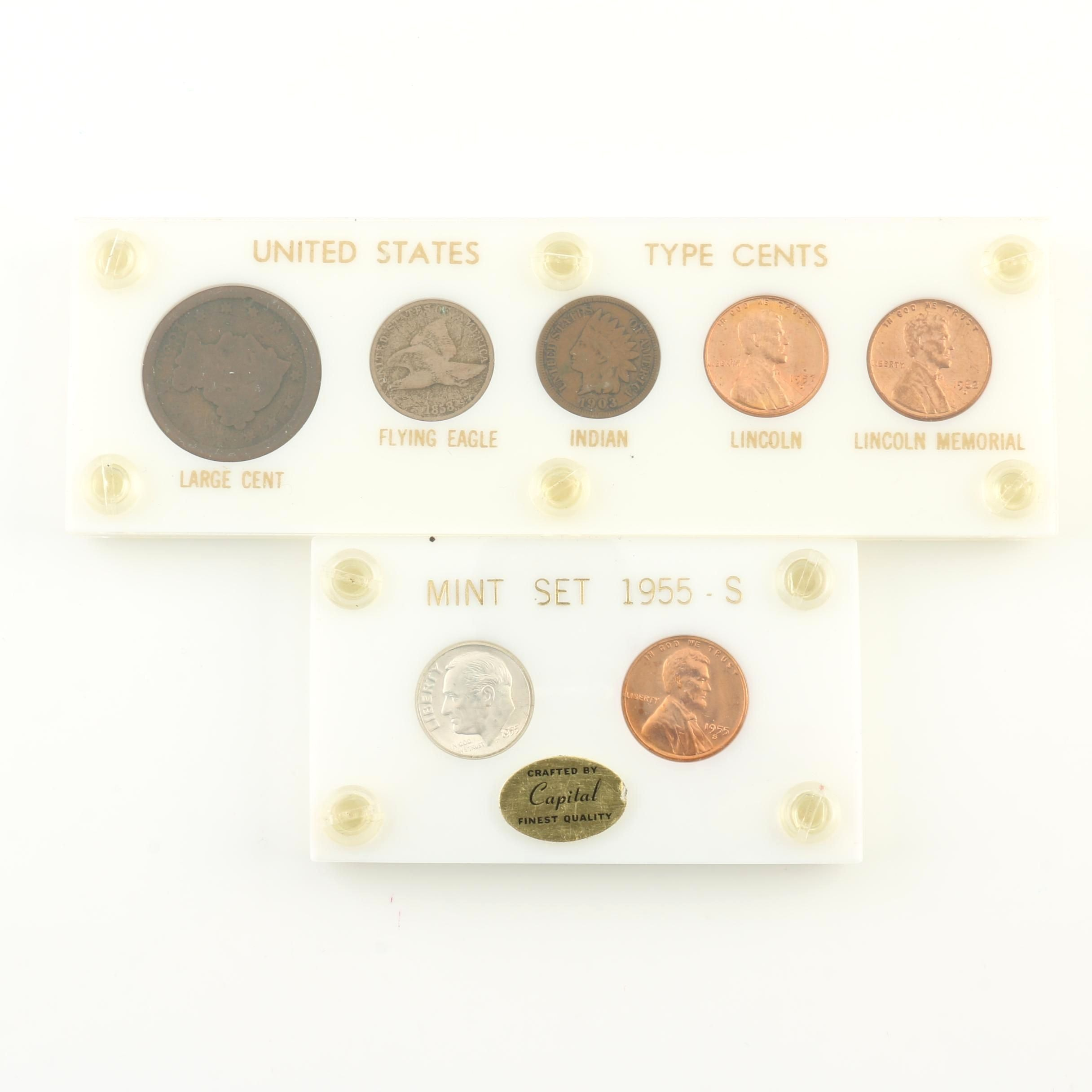 1955-S Mint Set and United States Type Cents Coin Set