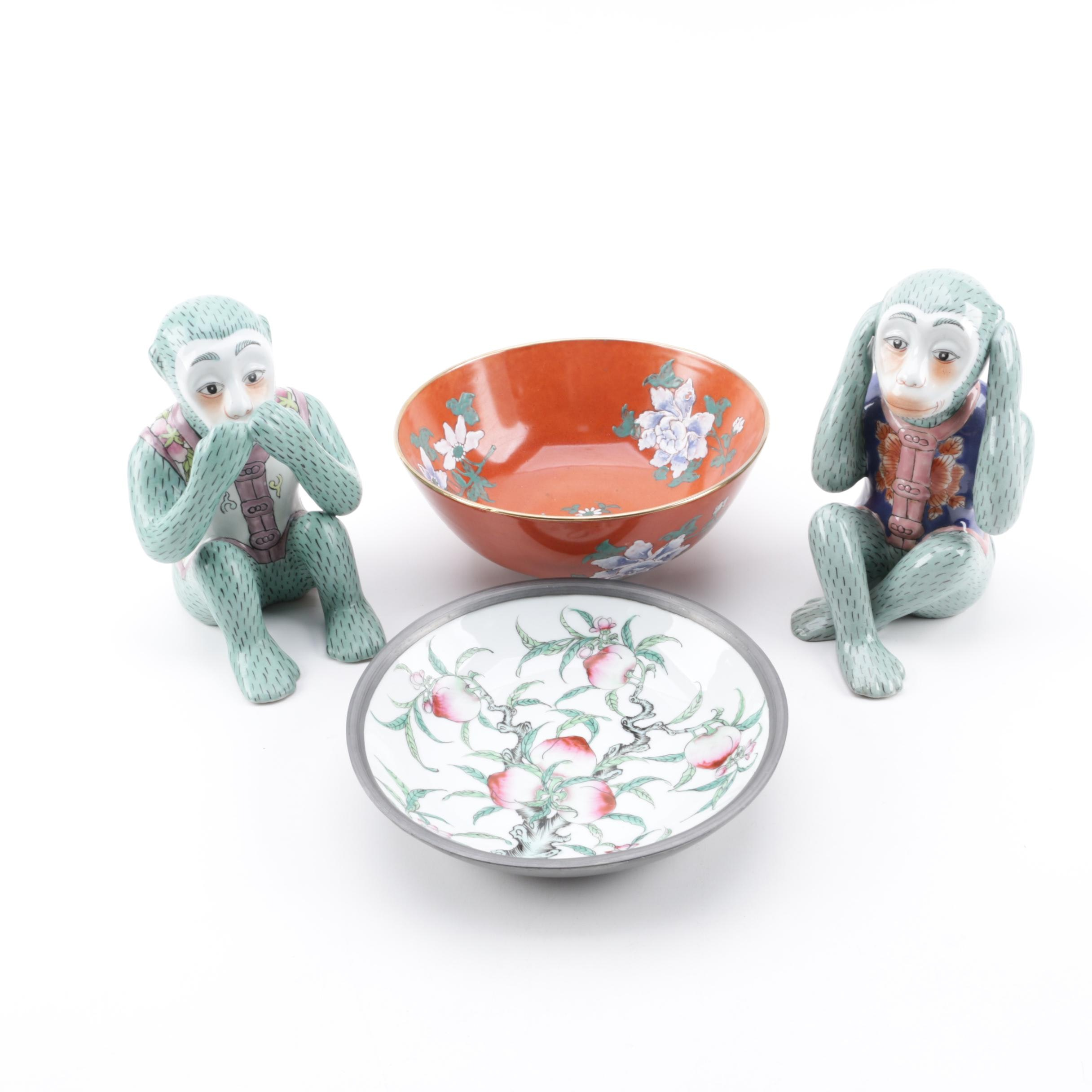 Andrea by Sadek Wise Monkey Figurines with Japanese Porcelain Bowls