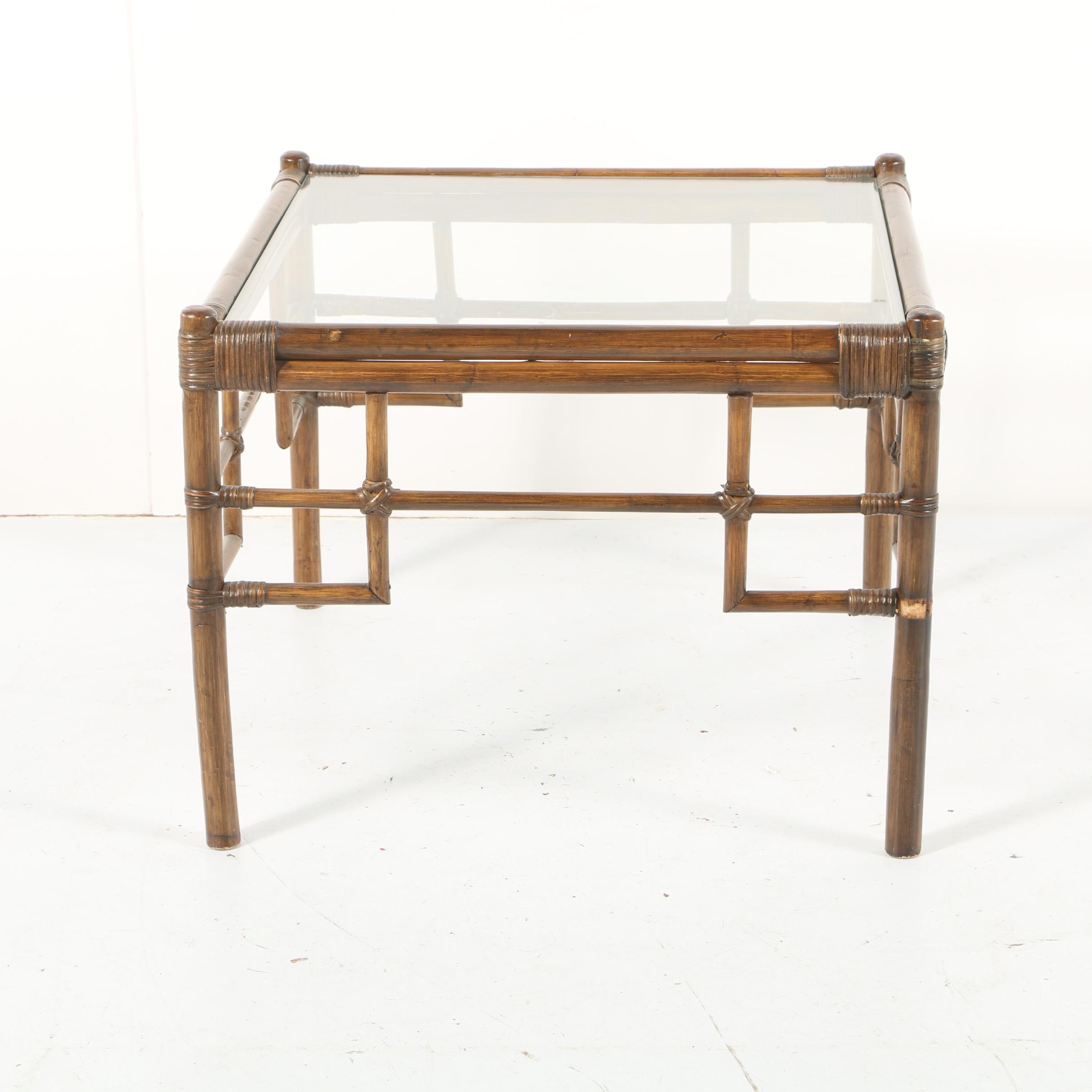 Glass Top Bamboo Accent Table