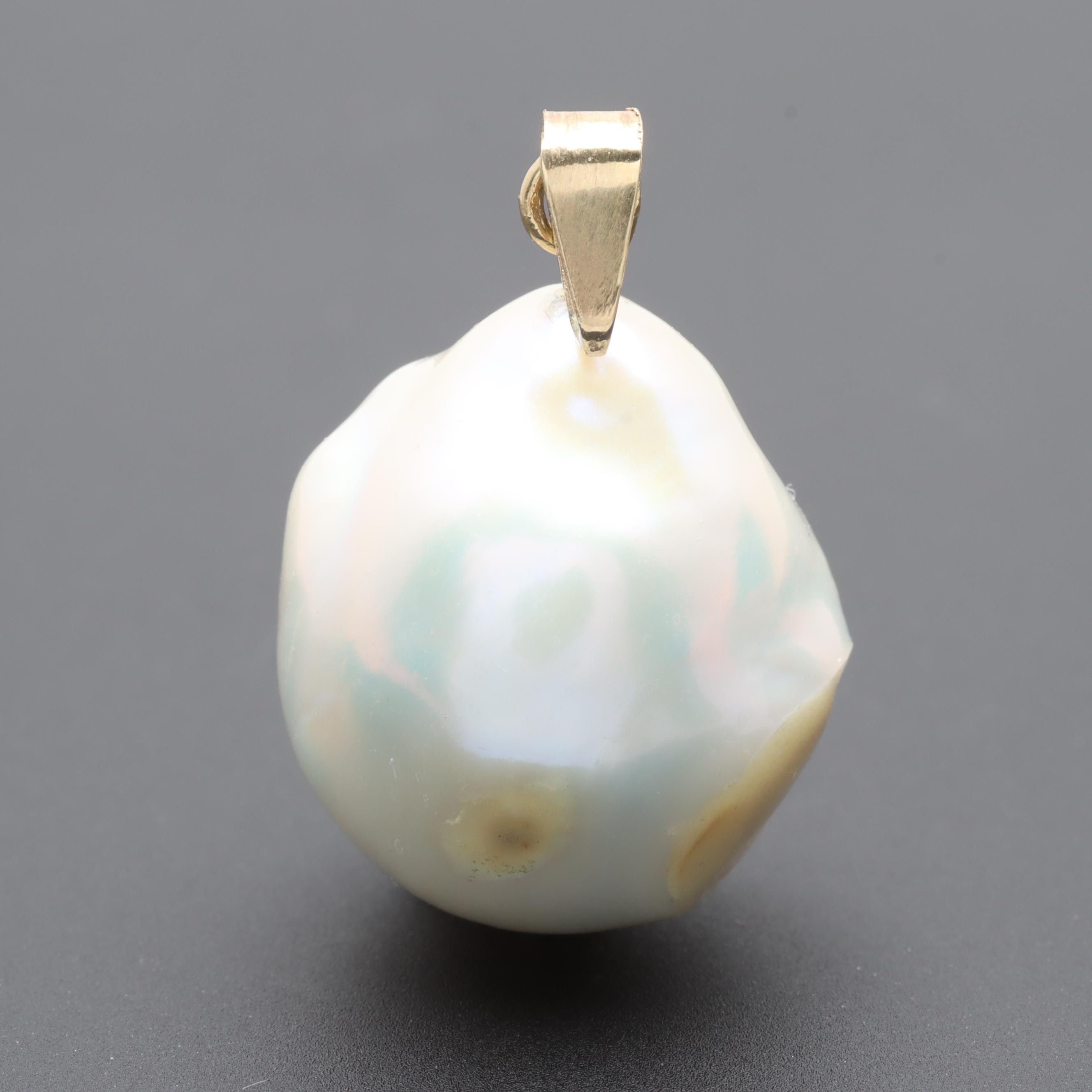 14K Yellow Gold Baroque Cultured Pearl Pendant