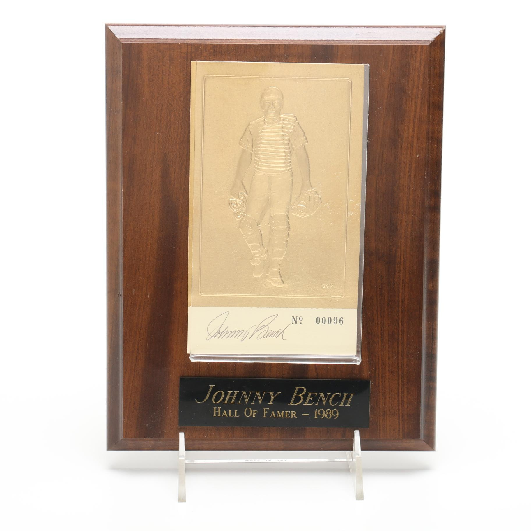 1989 Johnny Bench Cincinnati Reds Signed Hall of Fame Plaque