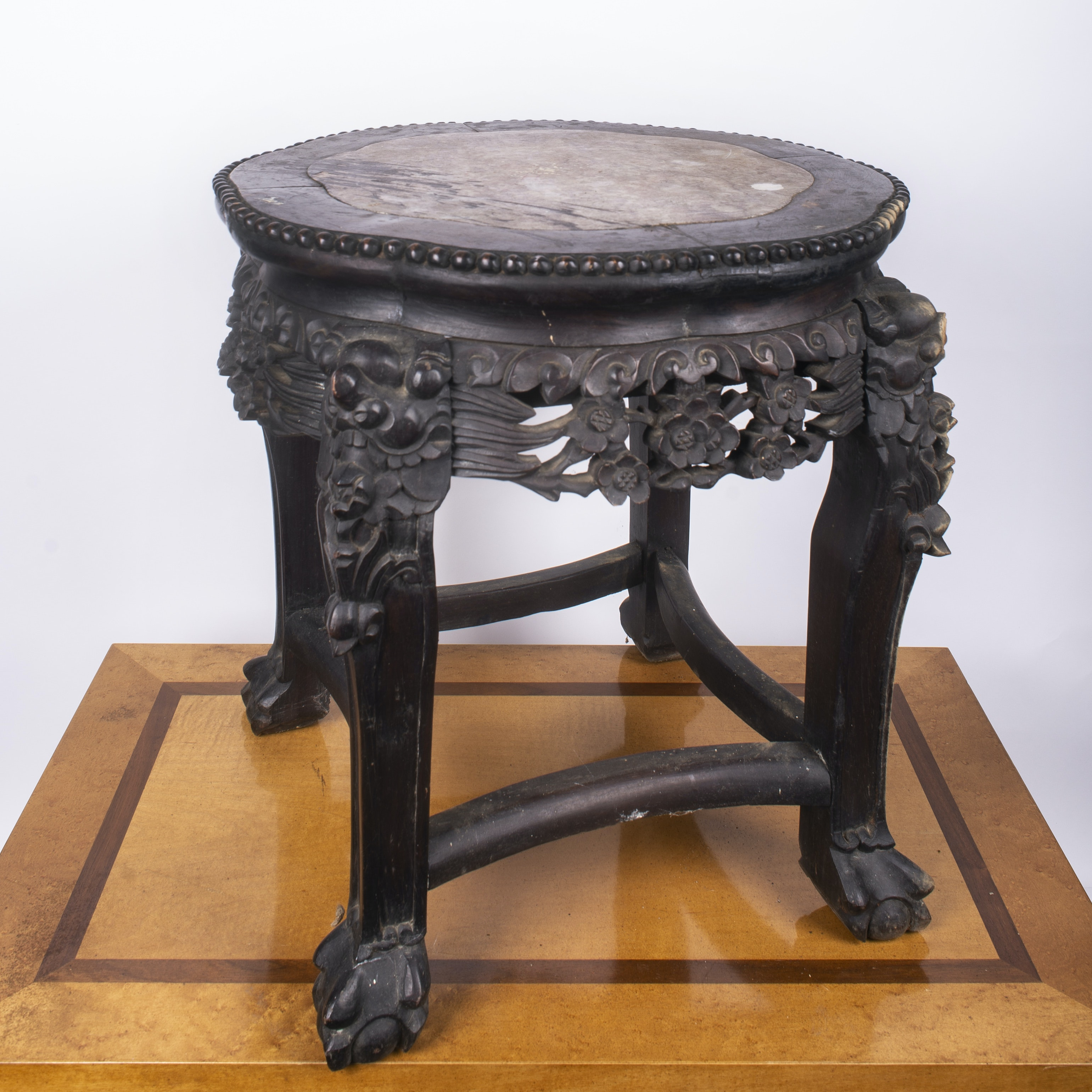 Asian Style Carved Side Table with Stone Top