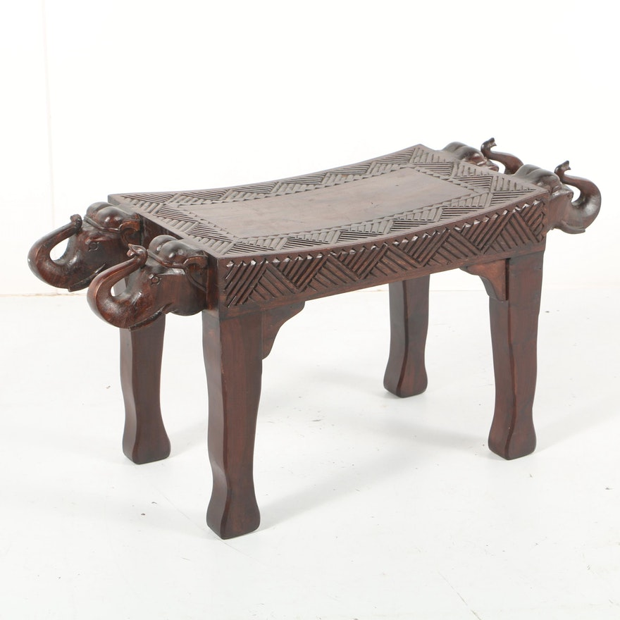 Elephant Motif Carved Wooden Bench