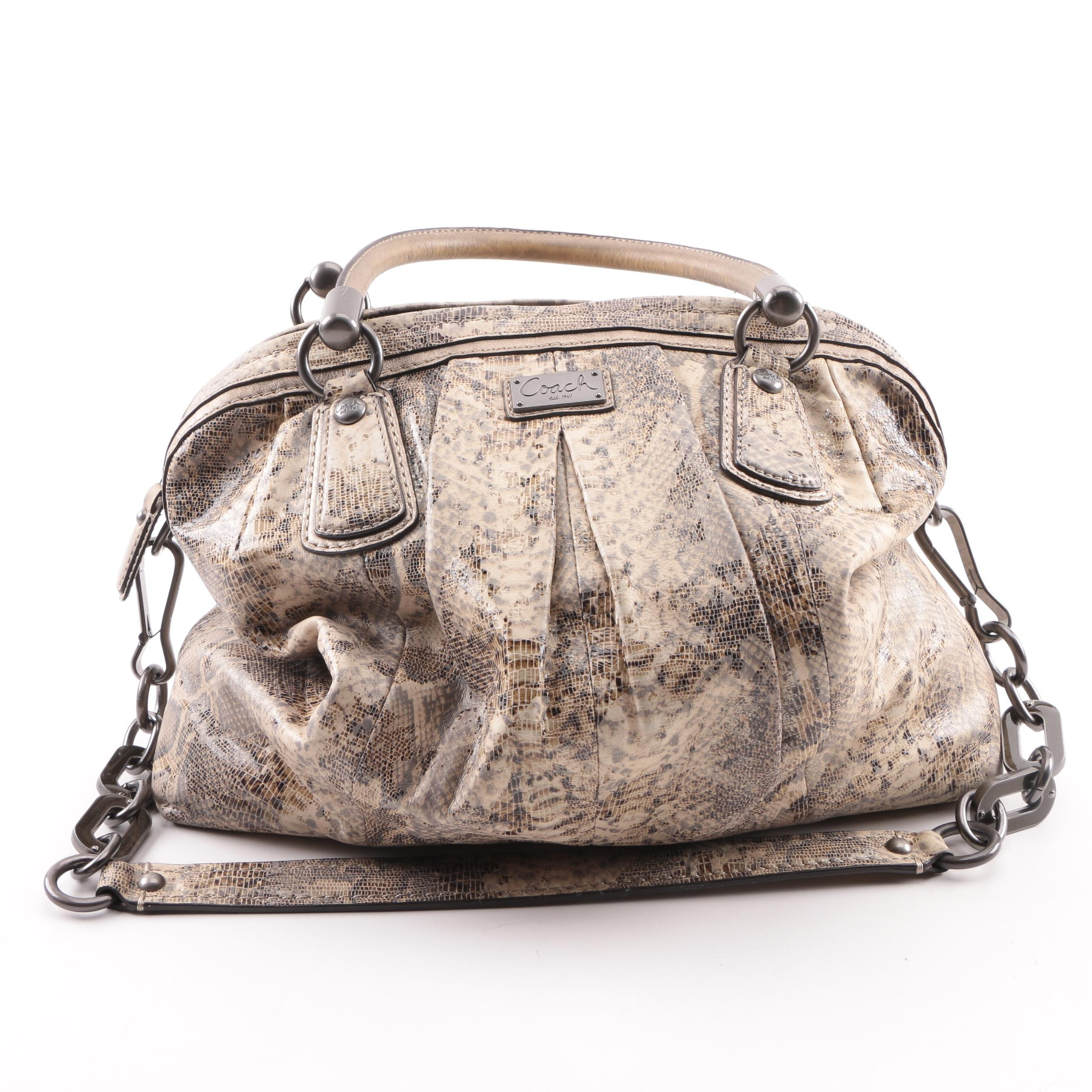 Coach Kristin Python Embossed Leather Pleated Satchel