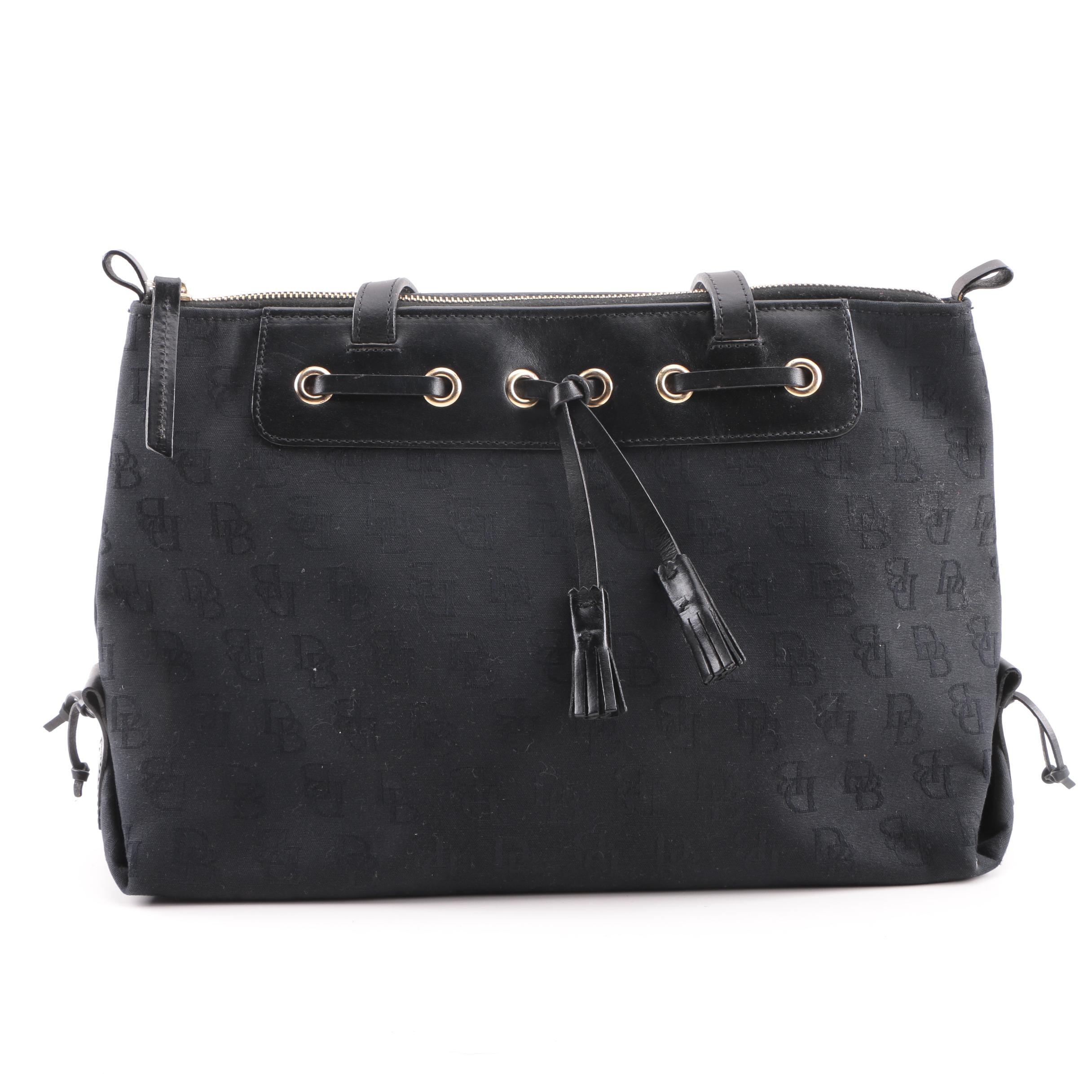 Dooney & Bourke Black Signature Canvas Tassel Shoulder Bag