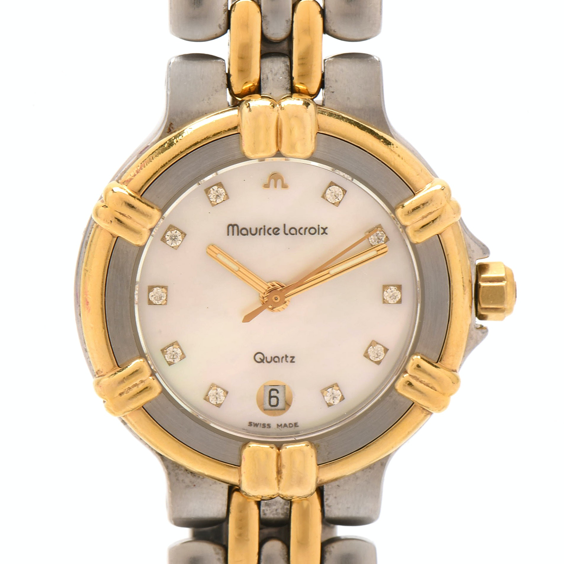 Maurice Lacroix Stainless Steel Mother of Pearl Wristwatch with 14K Yellow Gold