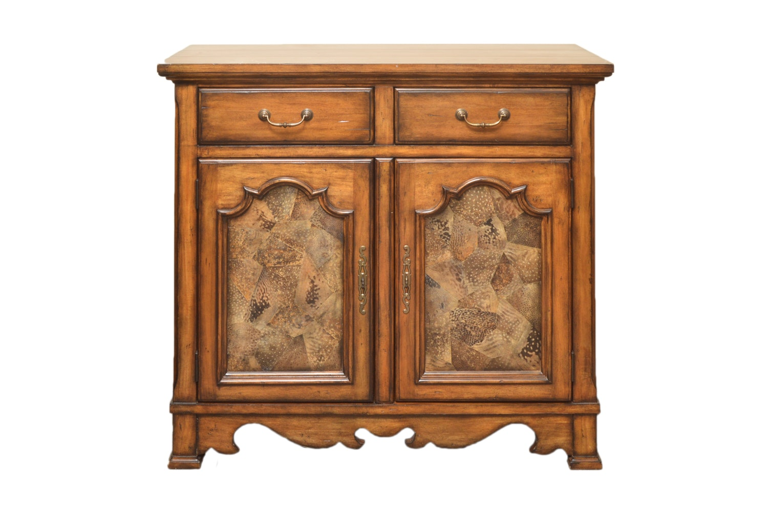 Wooden Cabinet with Faux Deer Hide Doors