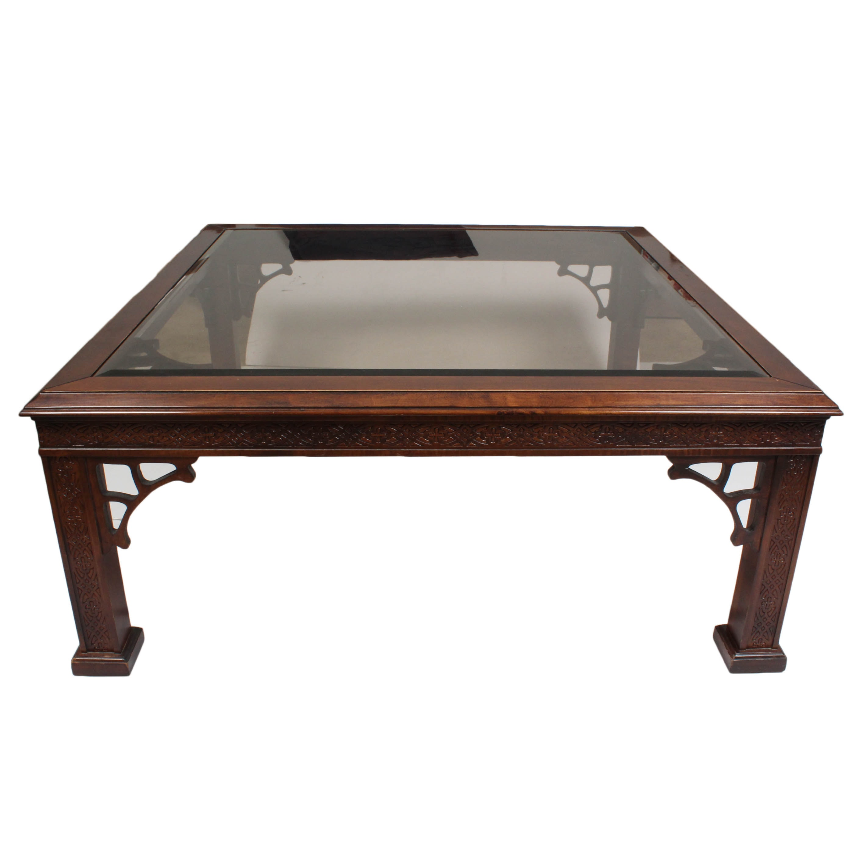 Ornate Wood Carved Glass Top Coffee Table