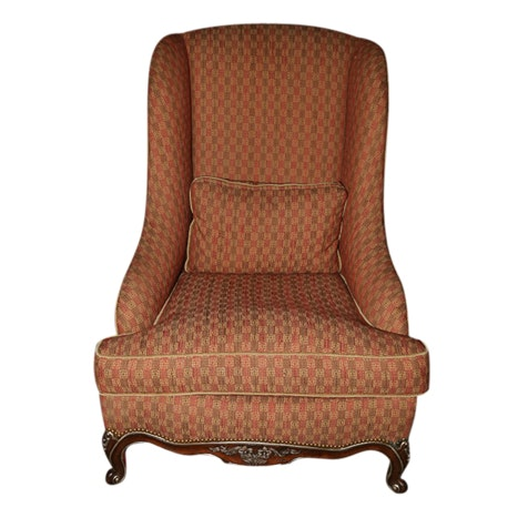 French Provincial Style Upholstered Wingback Chair by Sherrill Furniture