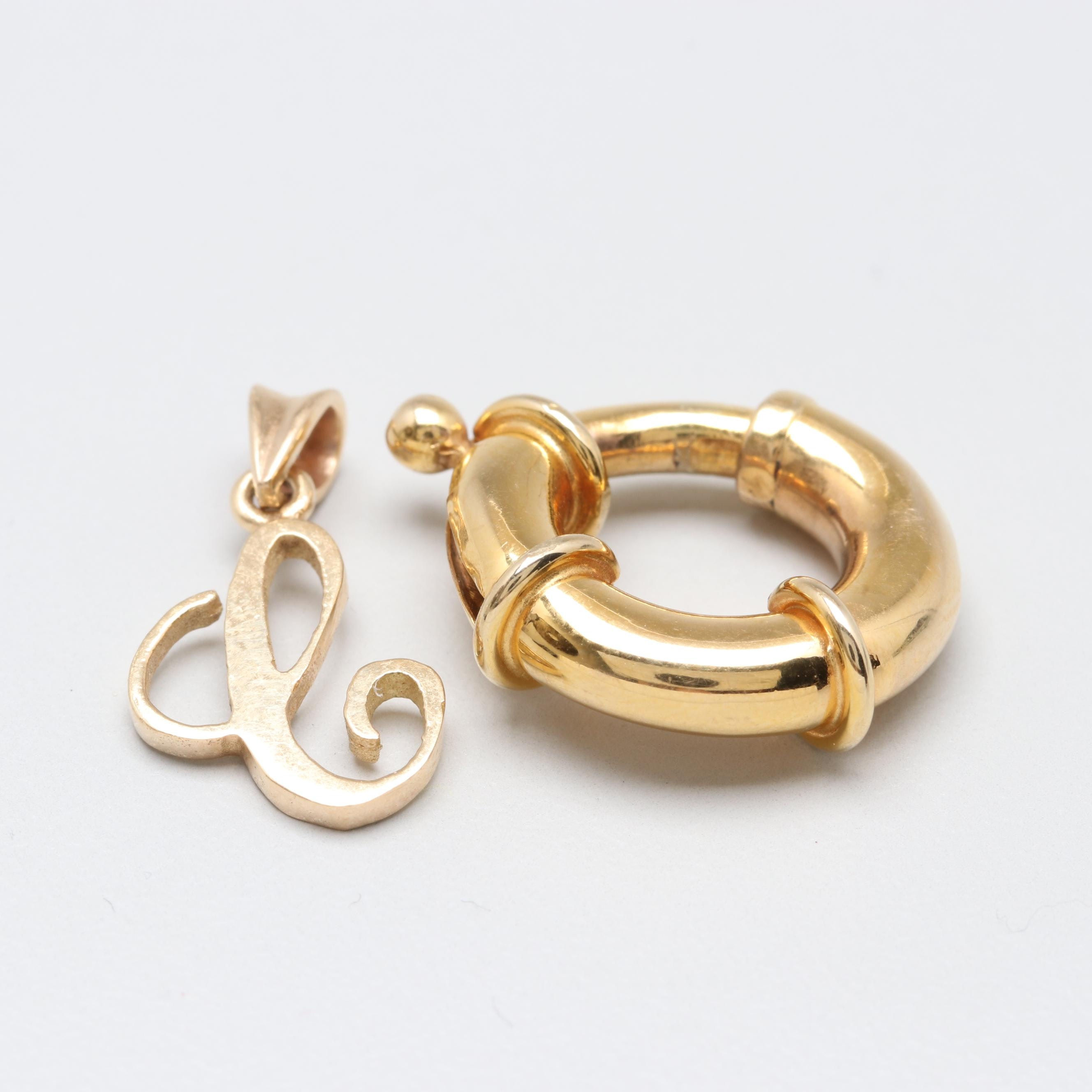 14K Yellow Gold Spring Ring and Letter Charm