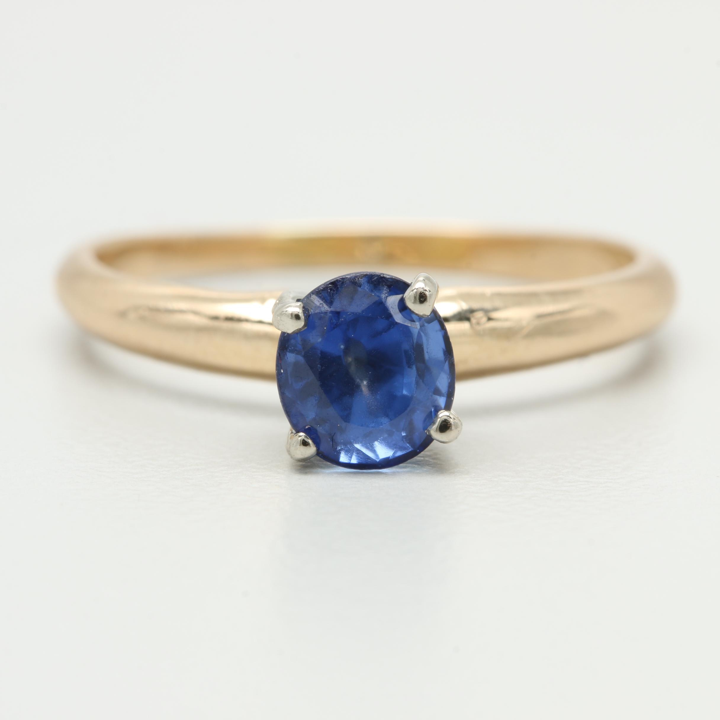 14K Yellow Gold Blue Sapphire Solitaire Ring with White Gold Accents