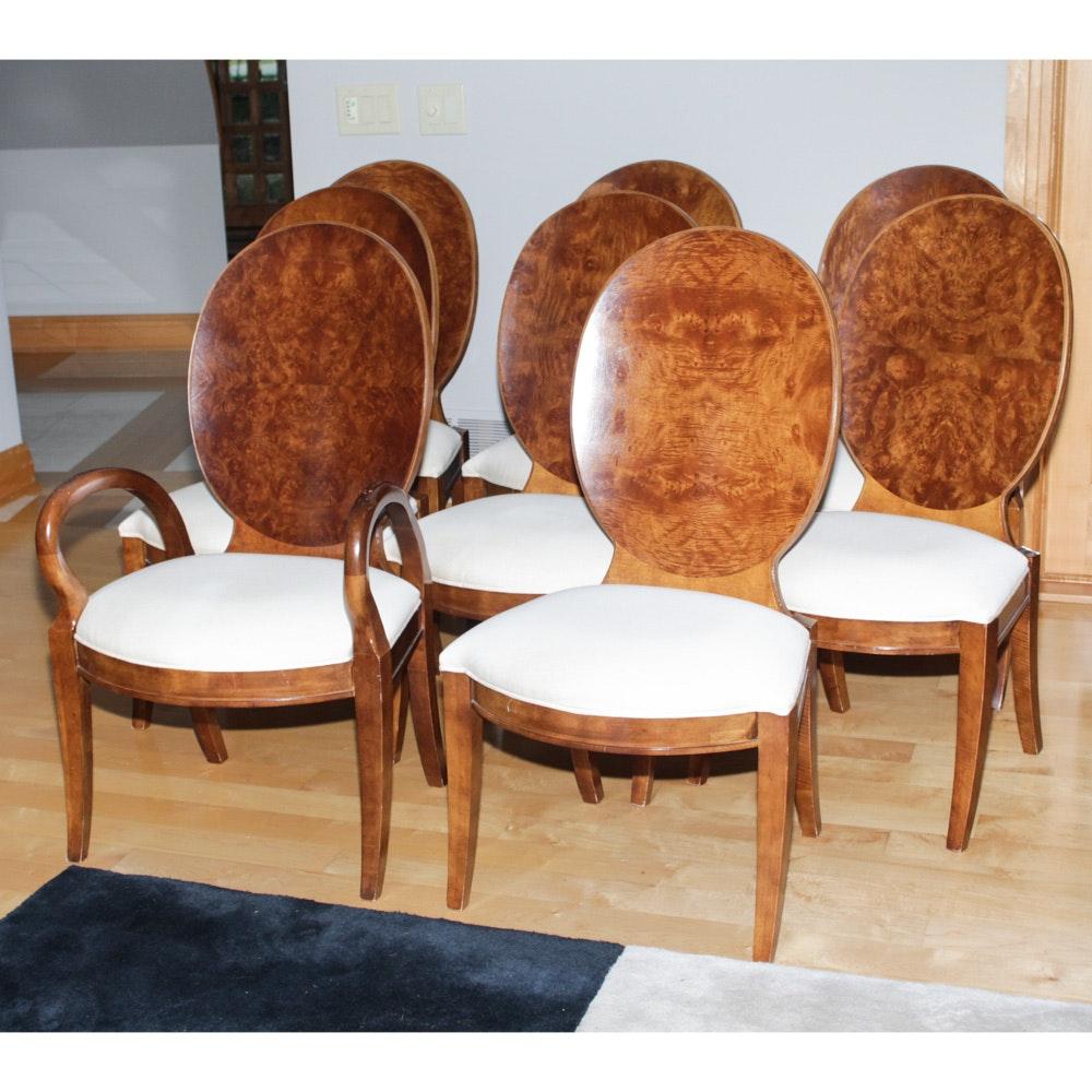 century furniture burl wood veneer dining chairs ebth rh ebth com Burlwood Tables Chairs Burlwood Tables Chairs