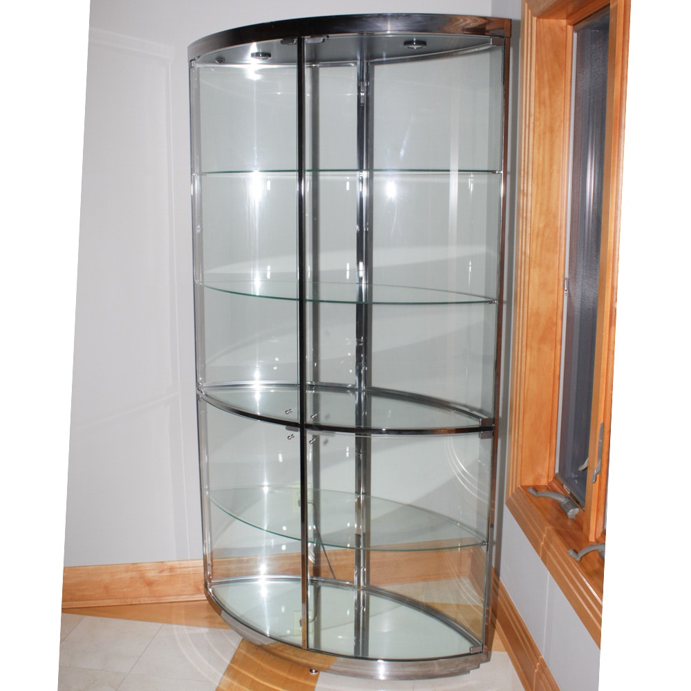 Contemporary Glass Display Cabinet ...  sc 1 st  EBTH.com & Contemporary Glass Display Cabinet : EBTH
