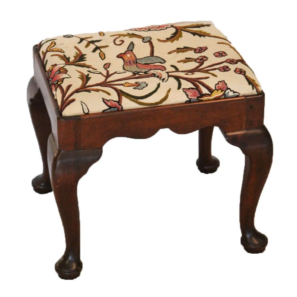 Vintage Crewel Upholstered Stool