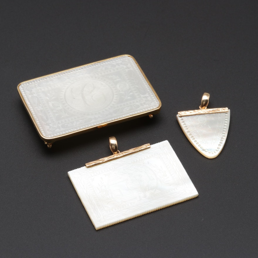 14K Yellow Gold Mother of Pearl Chinese Gaming Counter Pendant Assortment