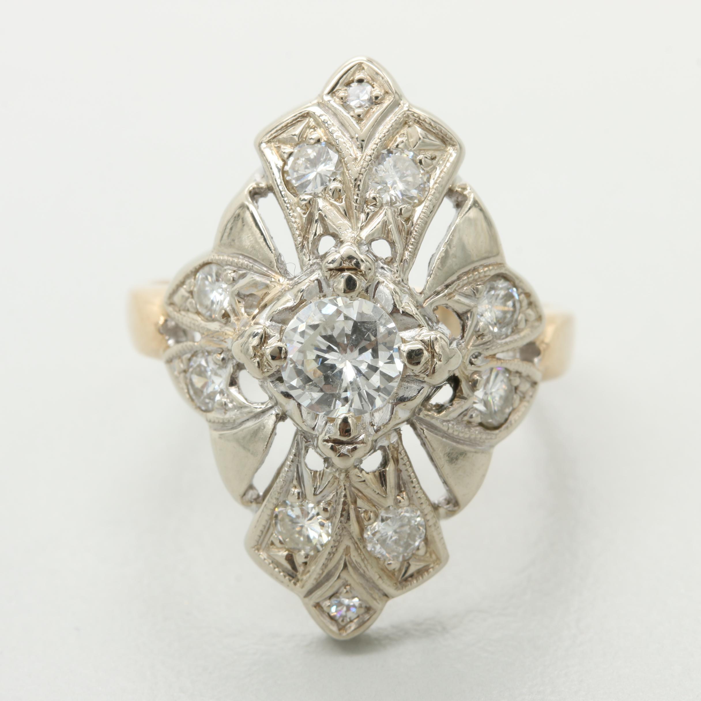 Circa 1930s Kinsley-Kovsky 14K White and Yellow Gold Diamond Ring