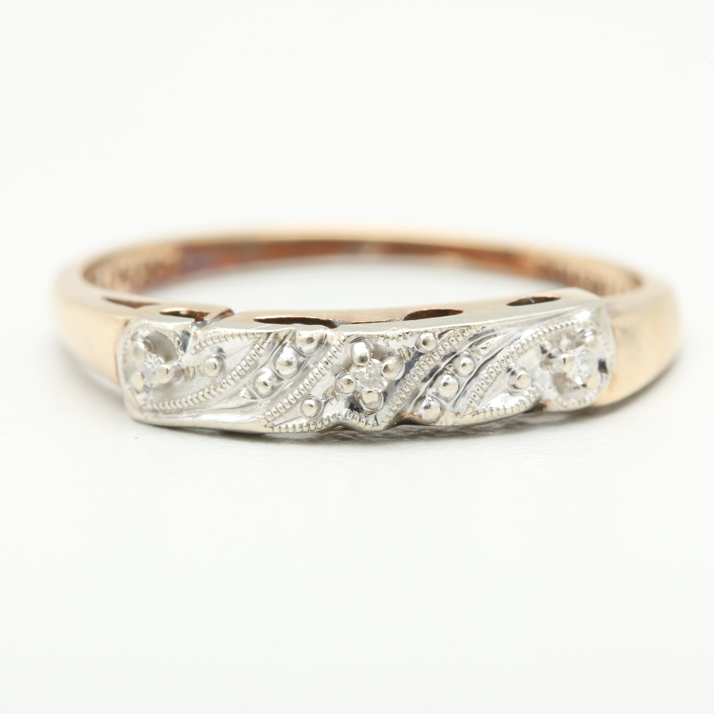 Vintage Eisenstadt Mfg. 14K Yellow Gold Diamond Ring with White Gold Accents